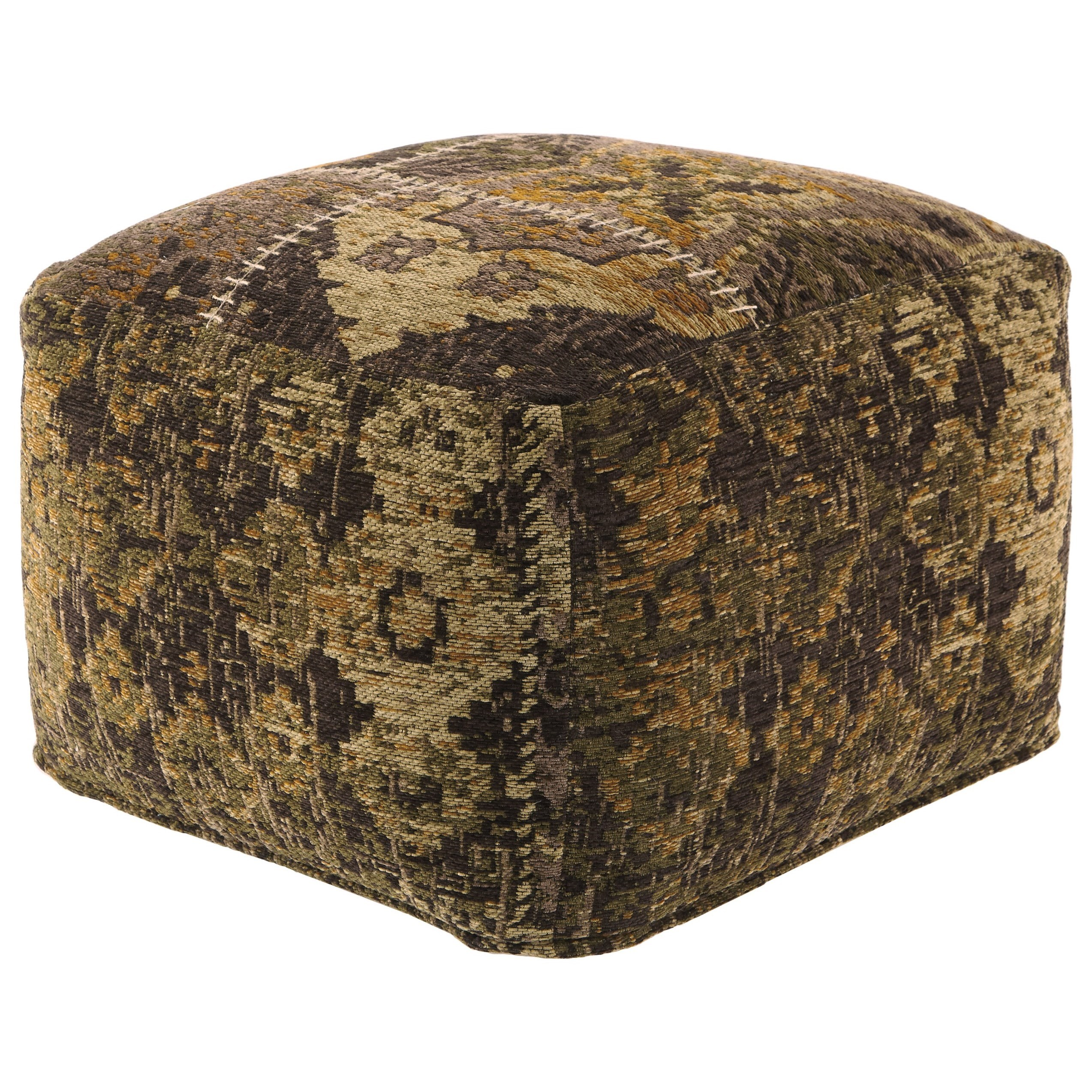 signature design by ashley poufs a1000110 stevensville patchwork pouf del sol furniture poufs. Black Bedroom Furniture Sets. Home Design Ideas
