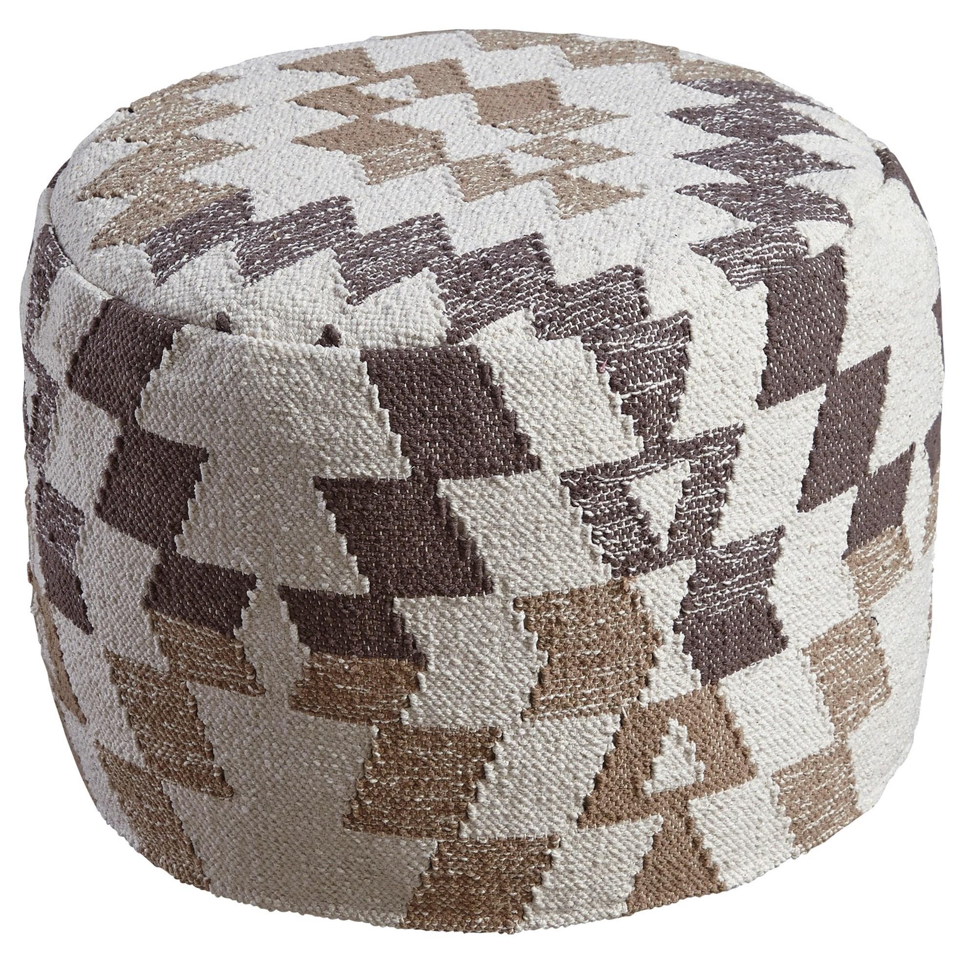 ashley signature design poufs a1000383 abraham white brown. Black Bedroom Furniture Sets. Home Design Ideas