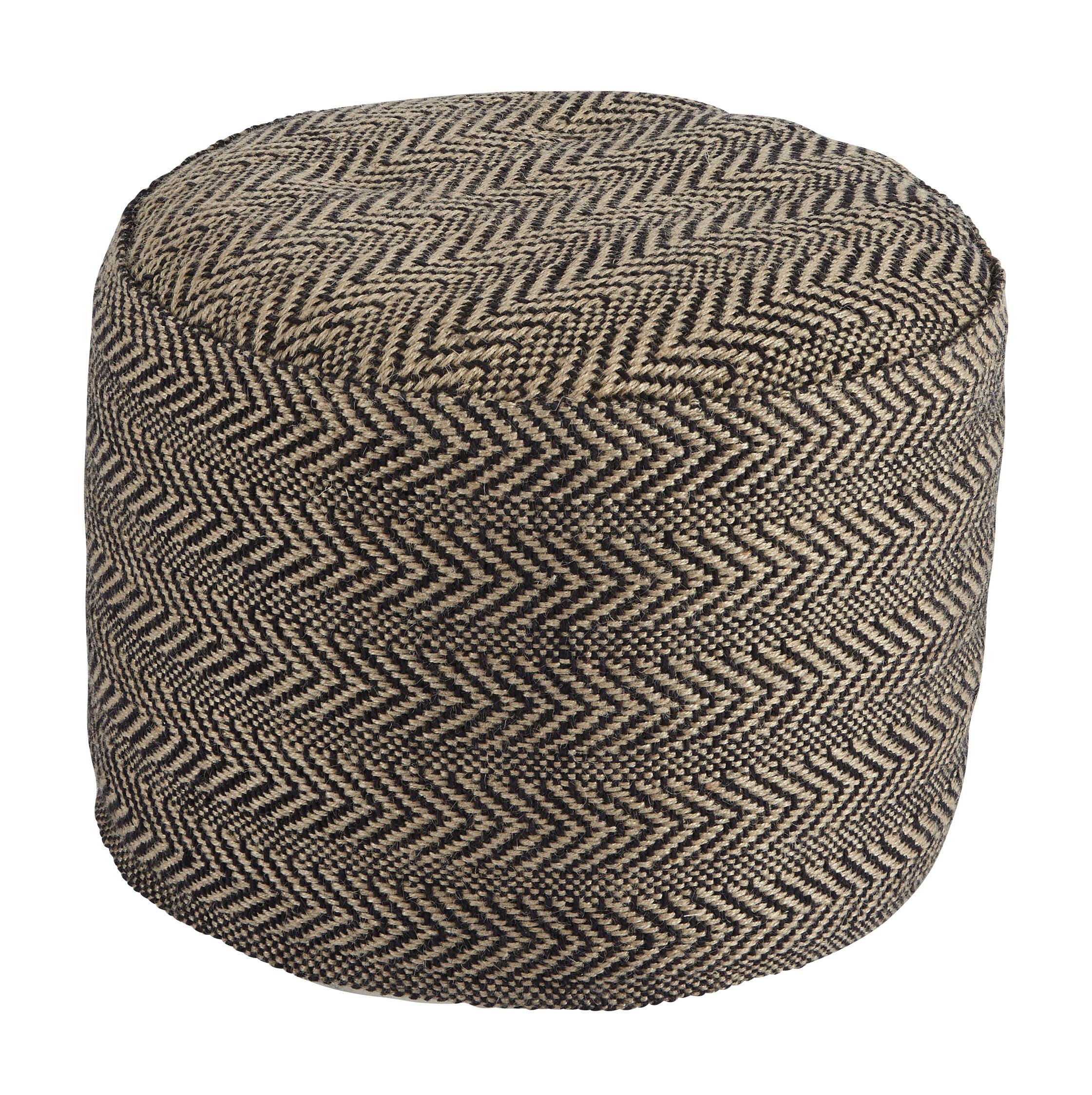 signature design by ashley poufs chevron natural pouf. Black Bedroom Furniture Sets. Home Design Ideas