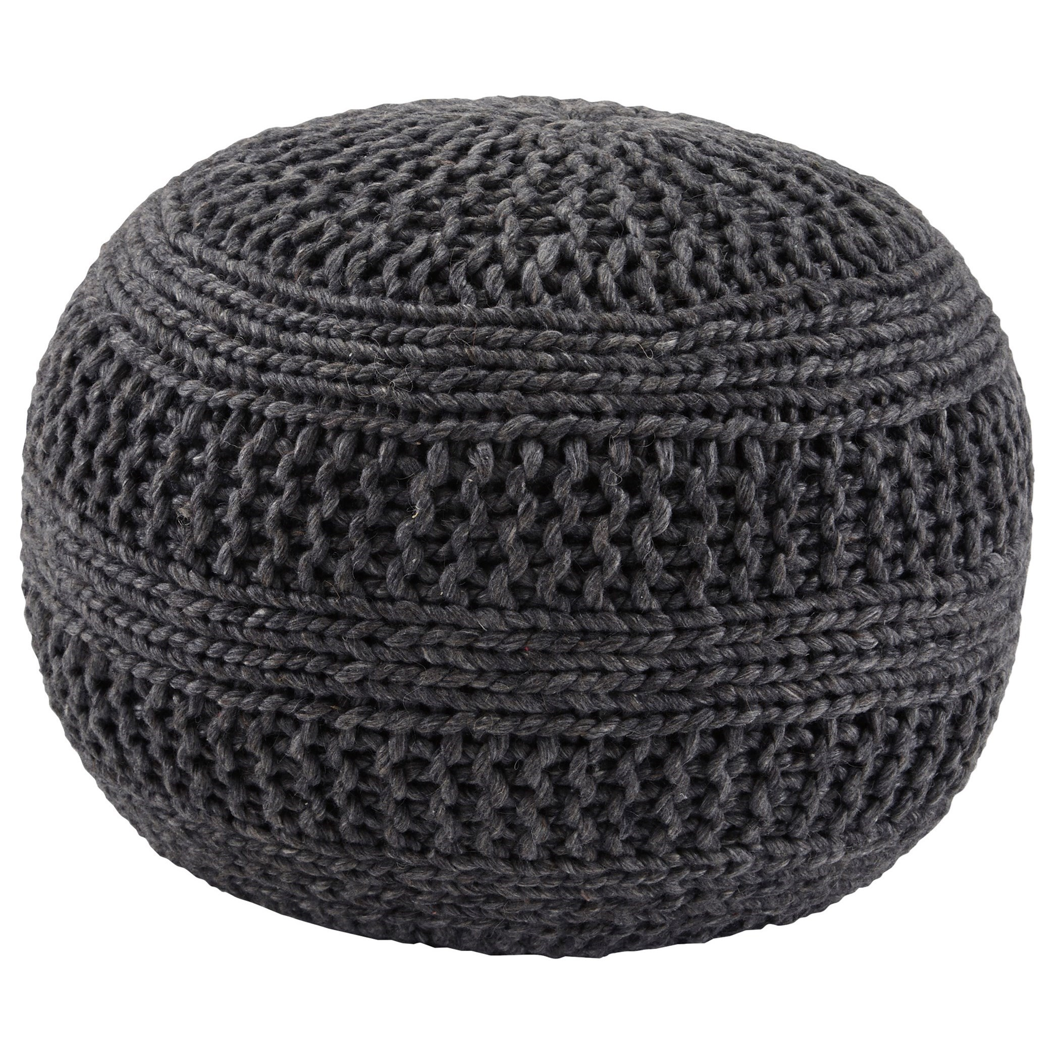 signature design by ashley poufs benedict charcoal pouf. Black Bedroom Furniture Sets. Home Design Ideas