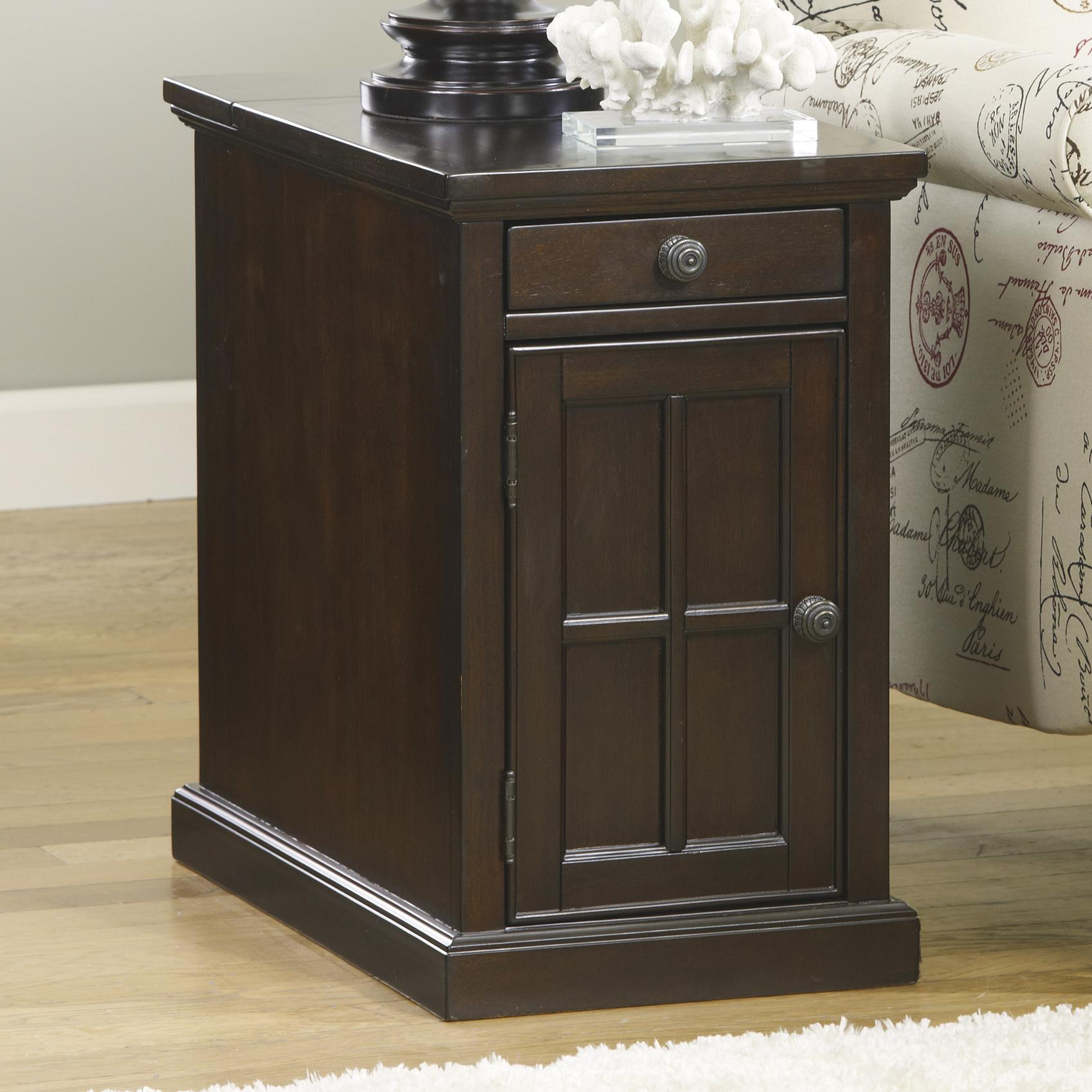 Laflorn Chair Side End Table with Power Outlets & Pull Out