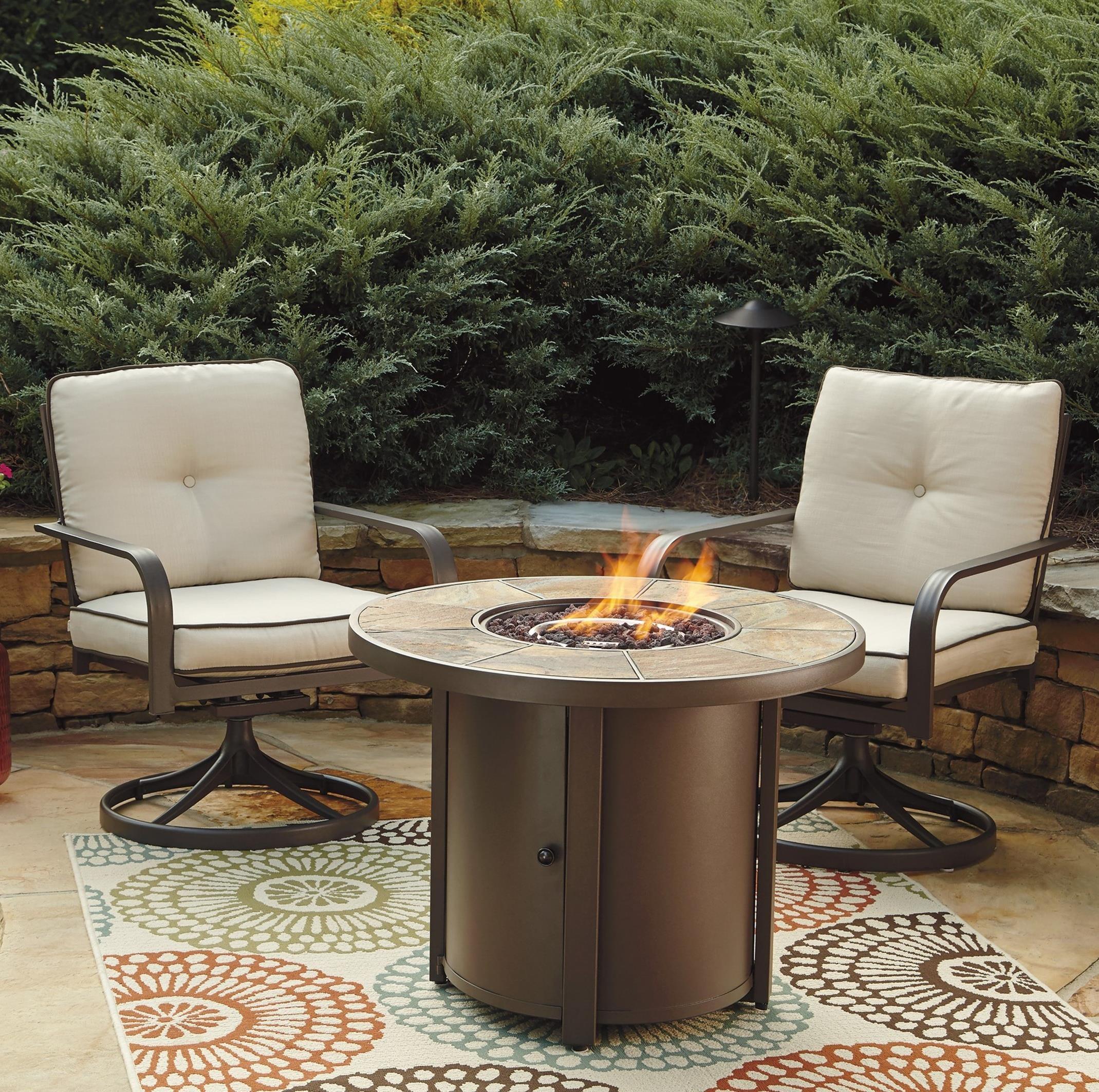 atlantic 3 piece round fire pit table set w swivel lounge