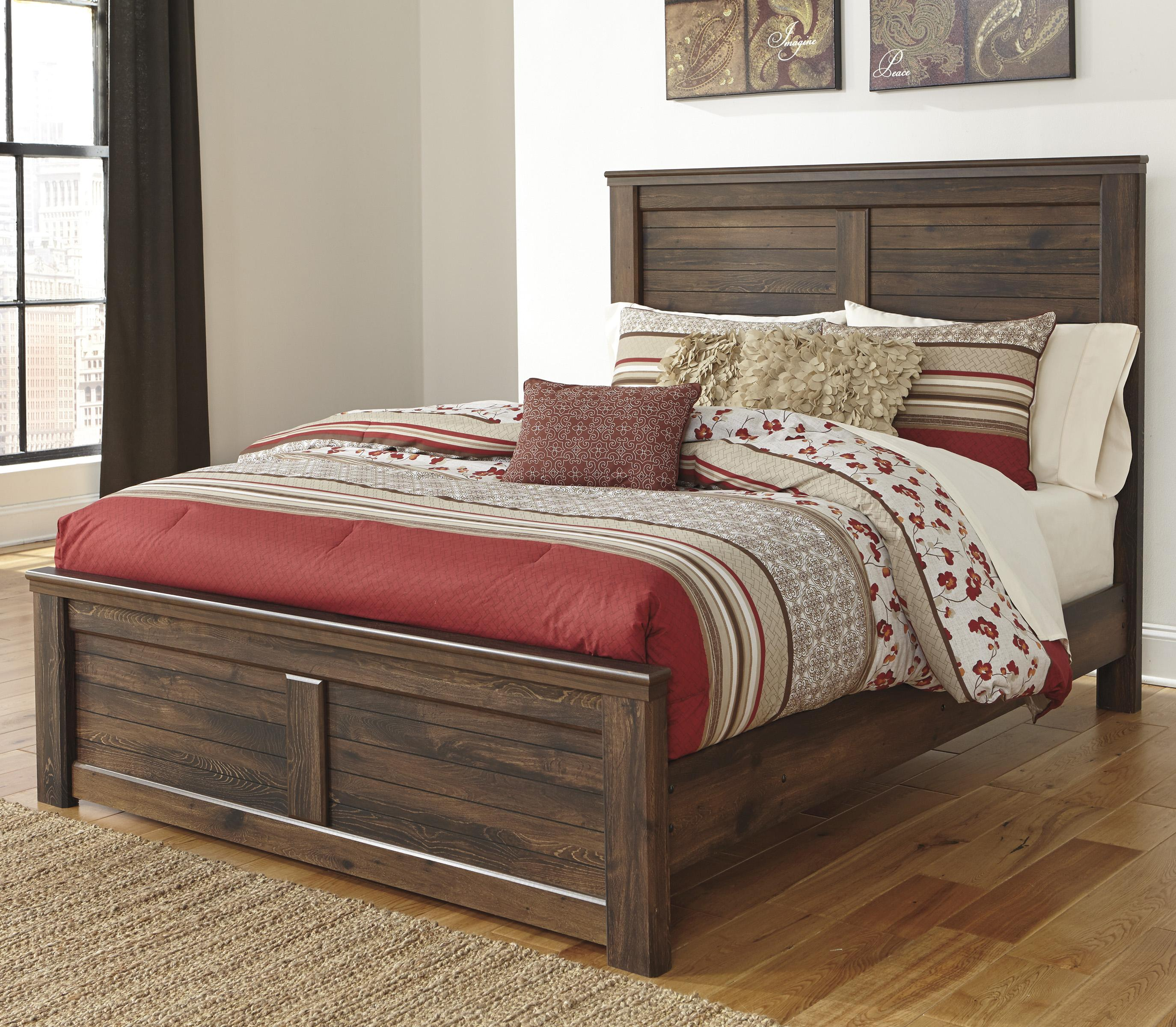 signature design by ashley quinden king panel bed with low. Black Bedroom Furniture Sets. Home Design Ideas