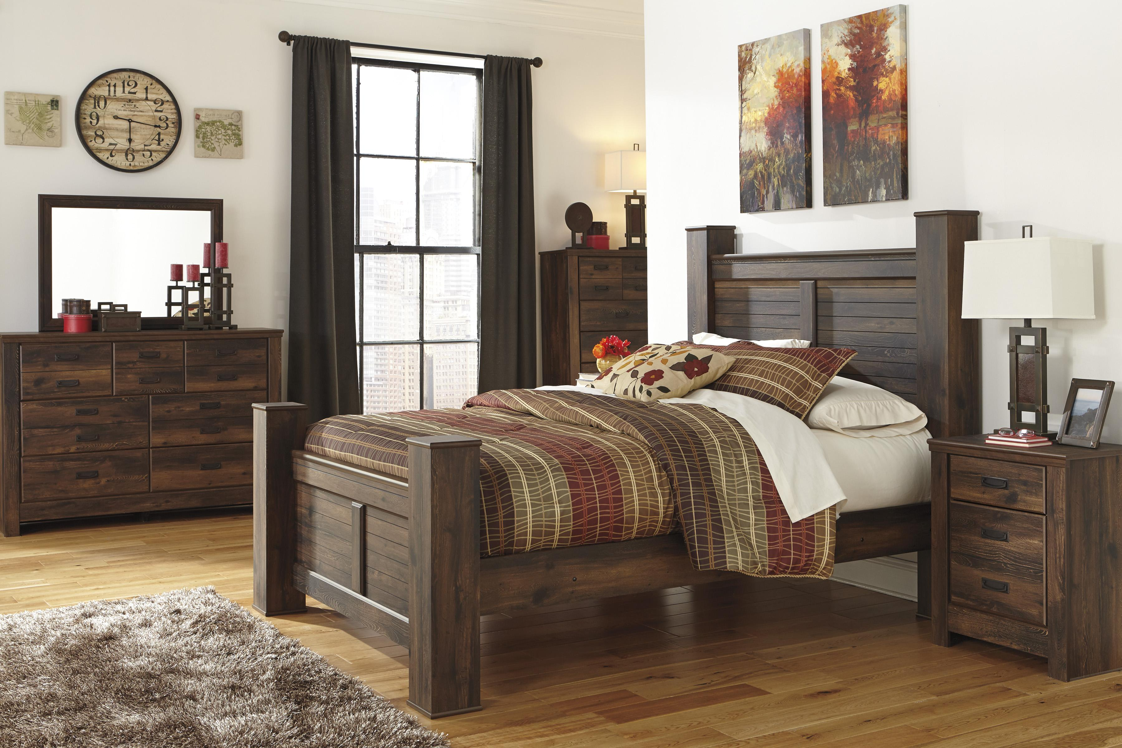 Signature Design By Ashley Quinden Rustic Queen Poster Bed Conlin 39 S Furniture Panel Beds