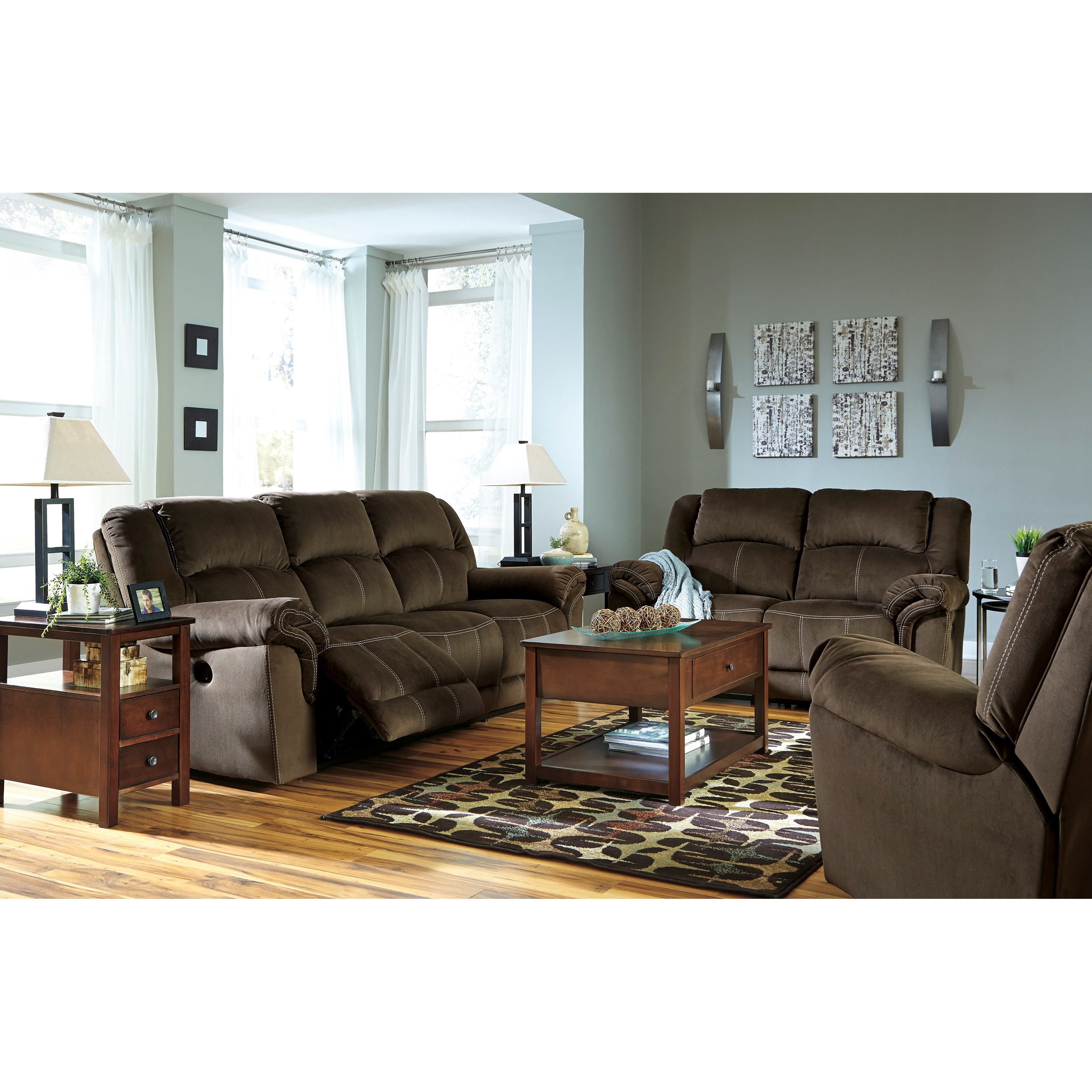 Signature design by ashley quinnlyn reclining living room for Living room furniture groups