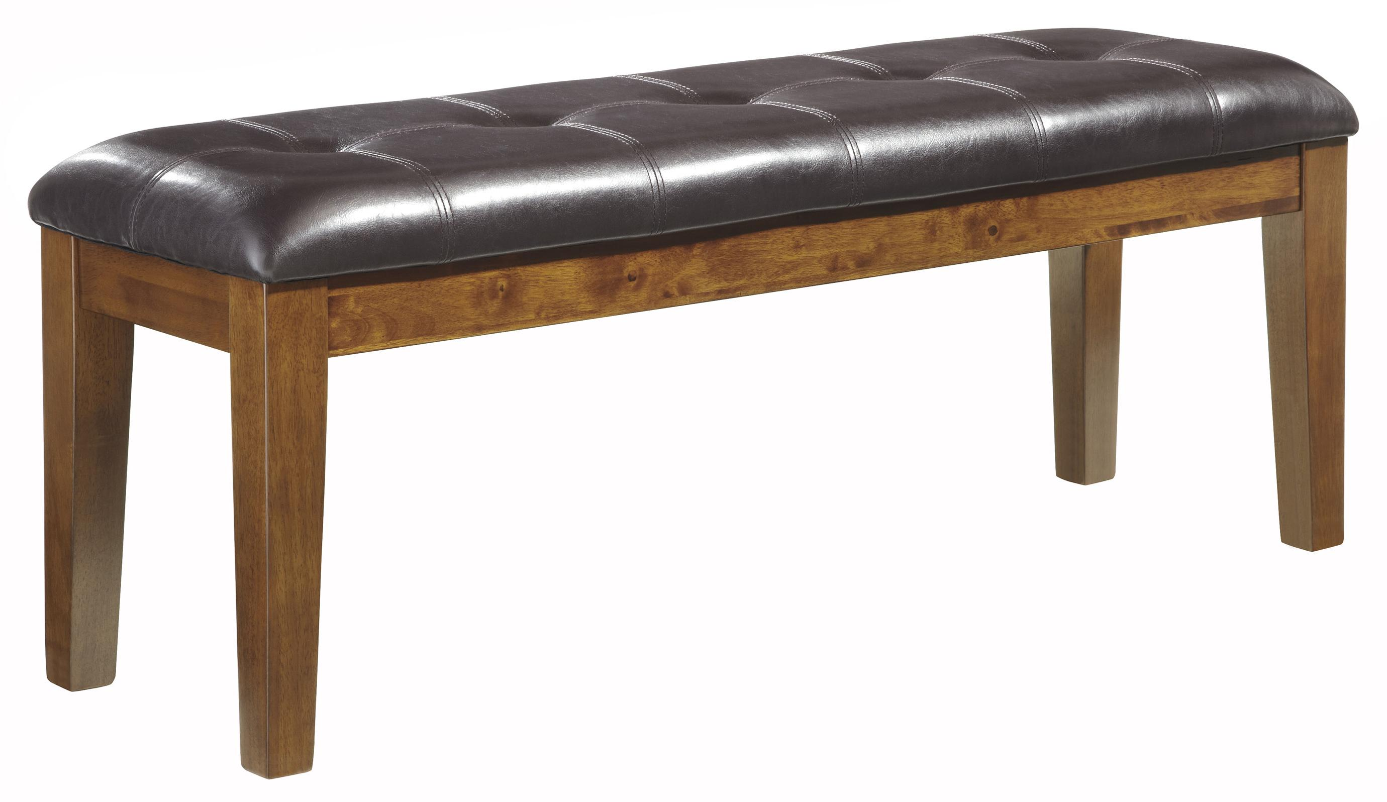 Ashley signature design ralene d594 00 casual faux leather for Upholstered dining table bench with back