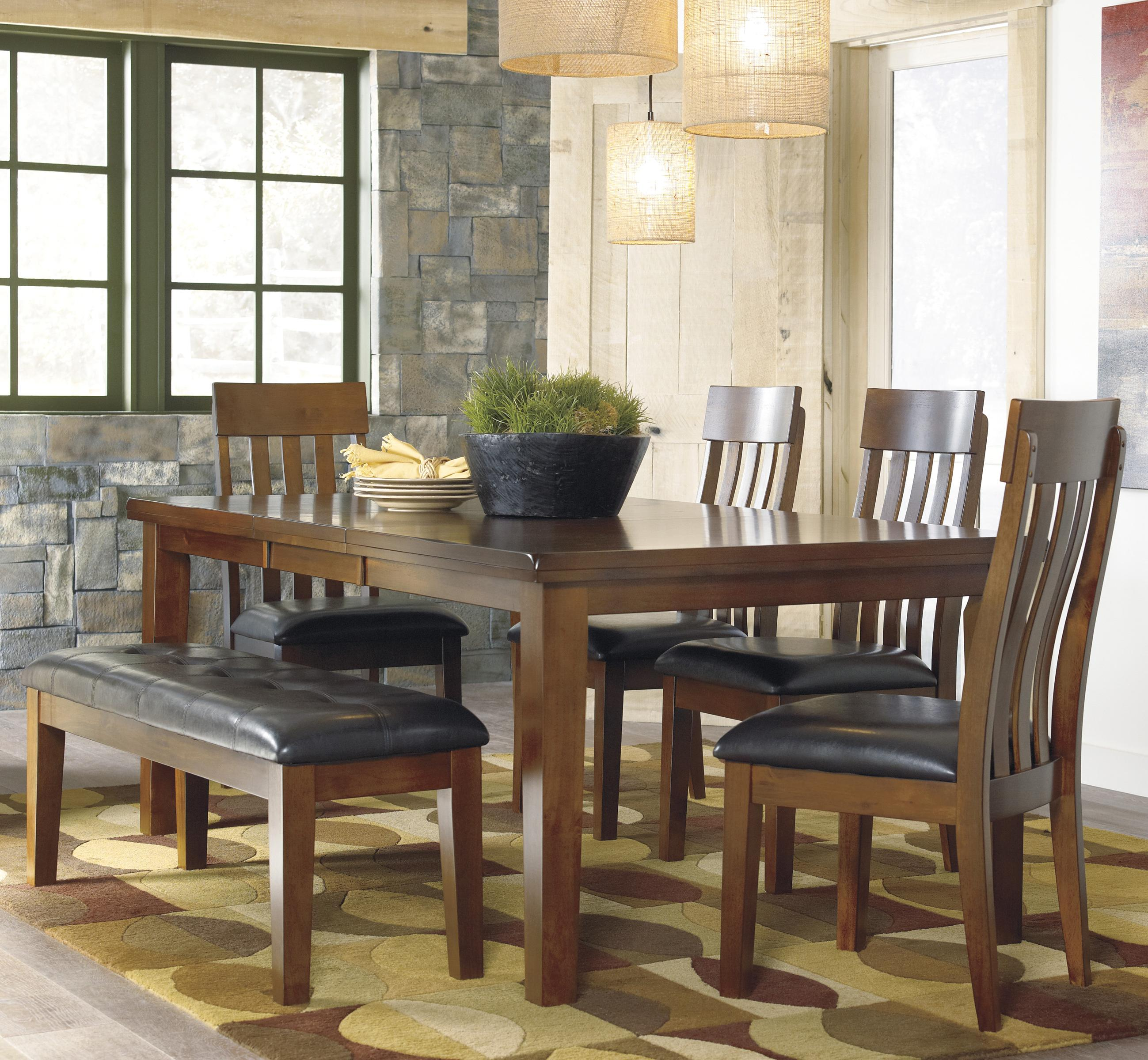 ashley signature design ralene casual 6 piece dining set with butterfly extension leaf bench
