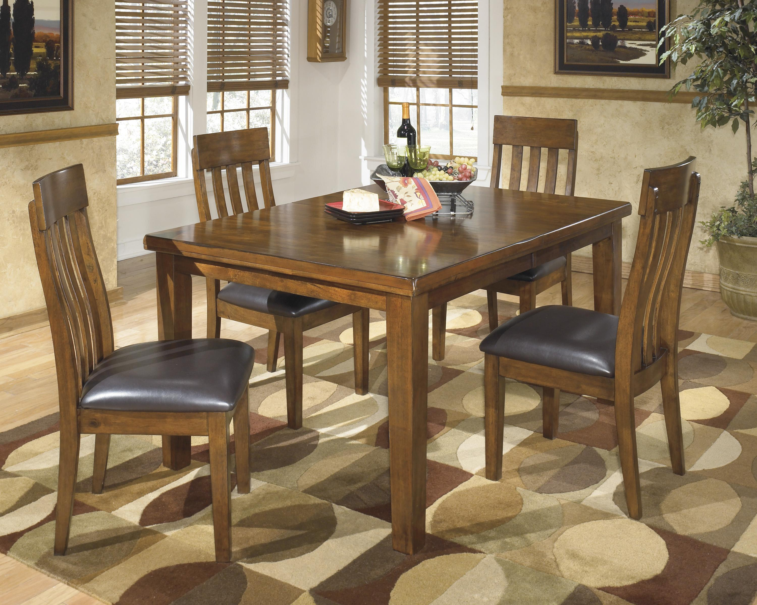 Signature Design By Ashley Ralene Casual 5 Piece Dining Set With Butterfly Ex