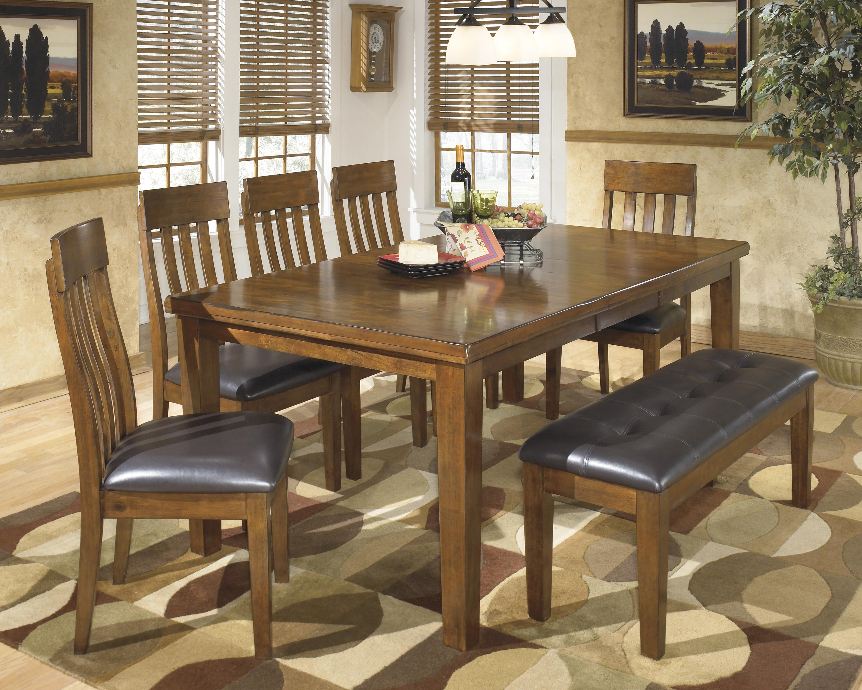 signature design by ashley ralene casual 7 piece dining set with butterfly extension leaf. Black Bedroom Furniture Sets. Home Design Ideas