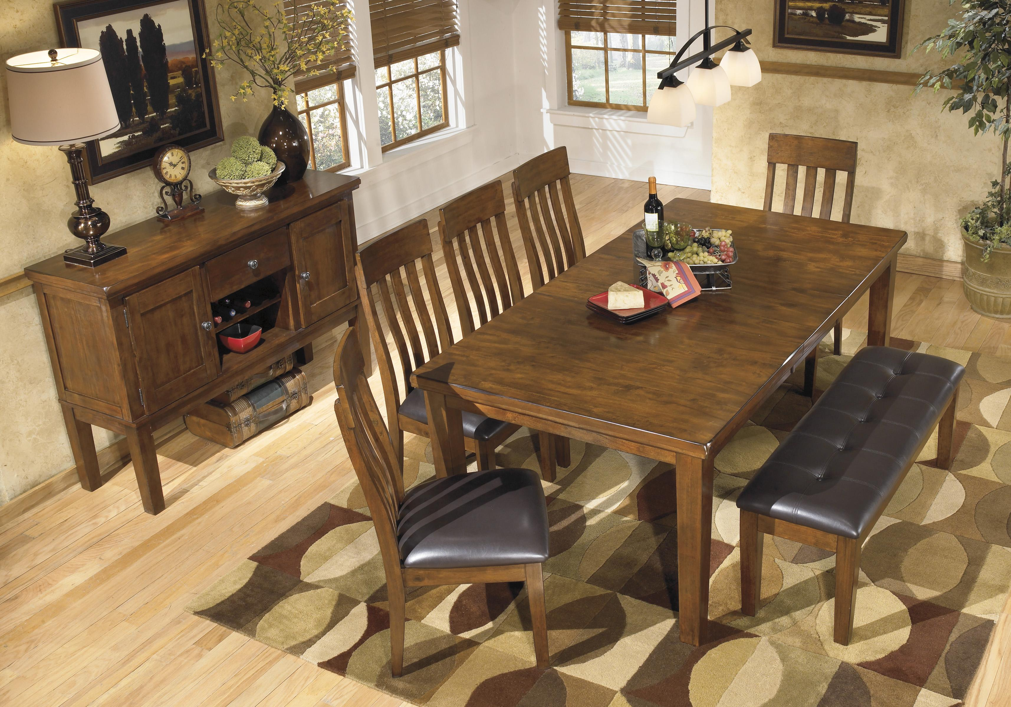 Signature Design By Ashley Ralene Casual 7 Piece Dining Set With Butterfly Ex