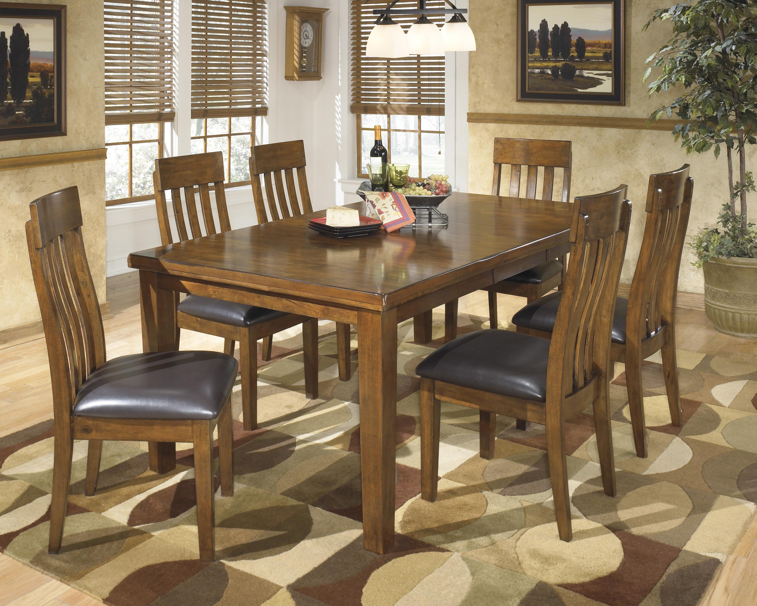 Ashley signature design ralene casual 7 piece dining set for Dining room sets with leaf