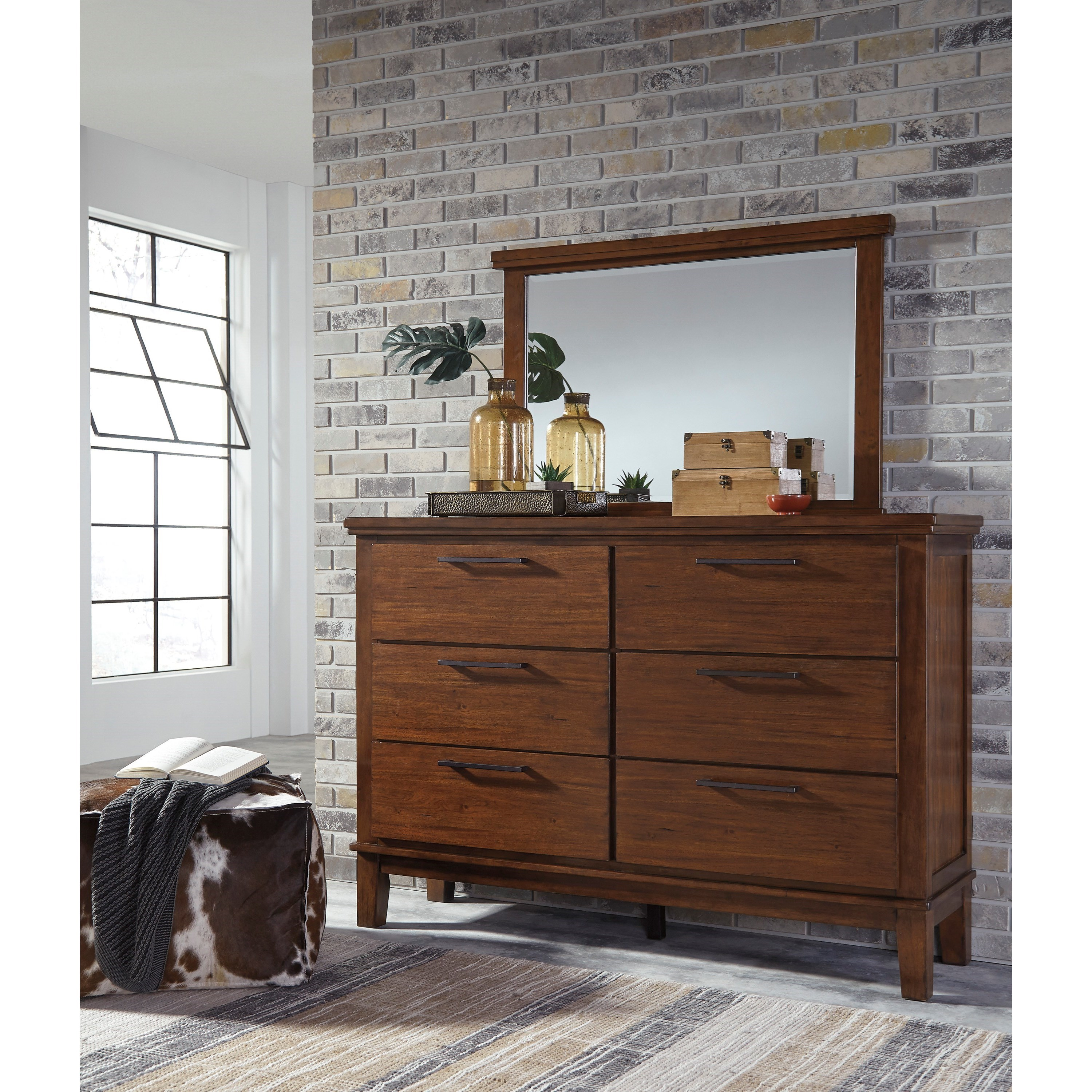 Signature design by ashley ralene dresser with contemporary bar pulls bedroom mirror royal for Ashley furniture ralene bedroom set