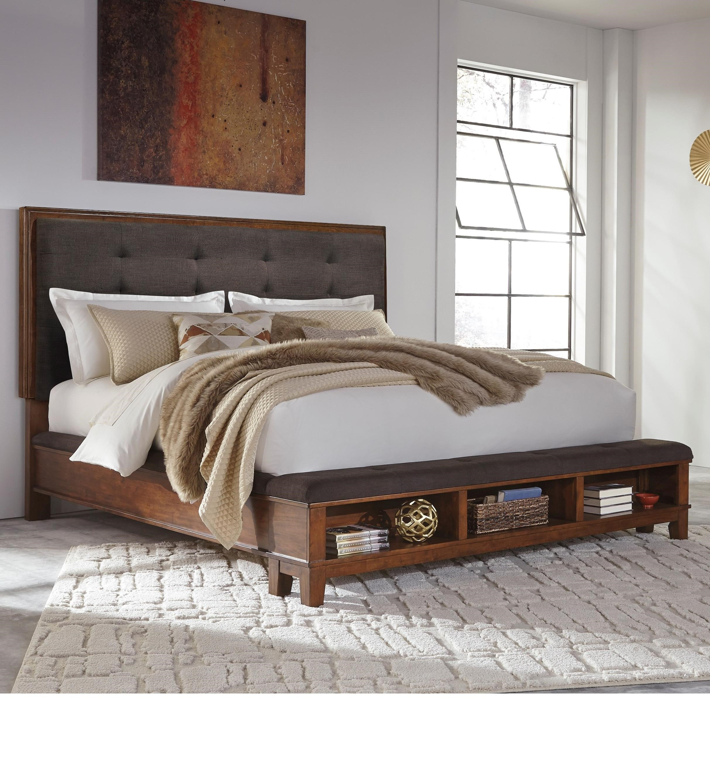 Signature Design By Ashley Ralene King Upholstered Bed With Bench Storage Footboard Royal