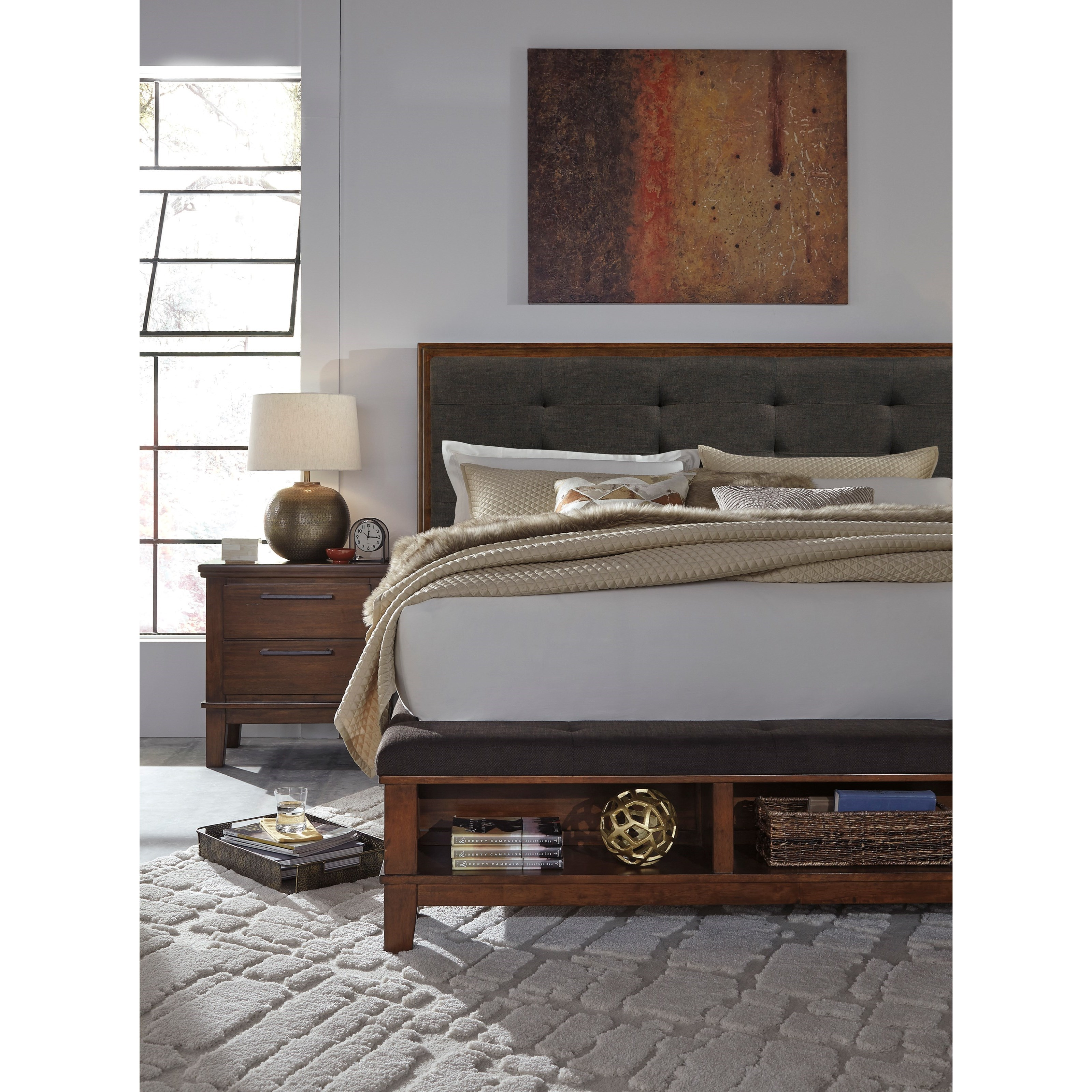 Signature Design By Ashley Ralene Queen Upholstered Bed With Bench Storage Footboard Del Sol