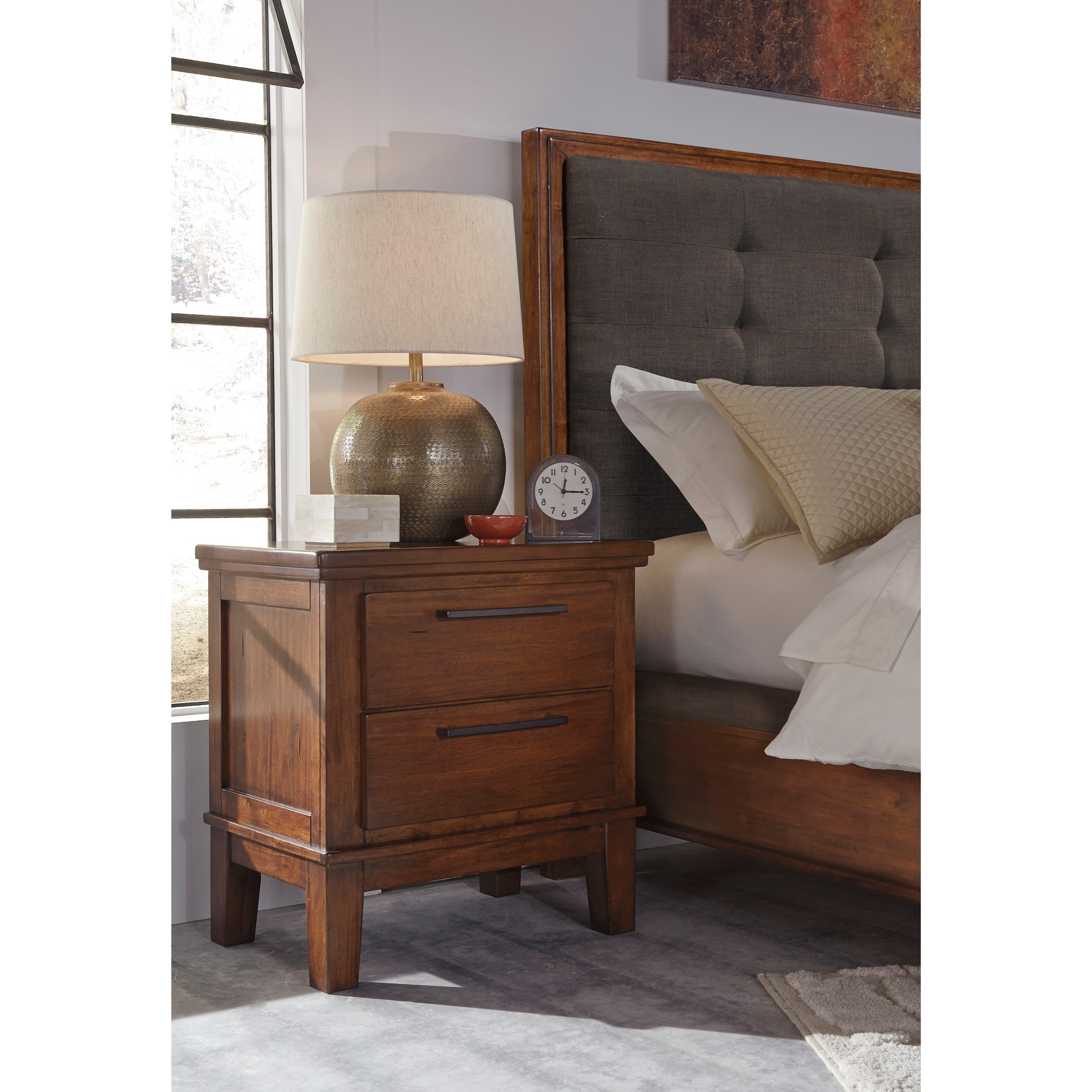 Signature design by ashley ralene two drawer night stand for Bedroom furniture 37027