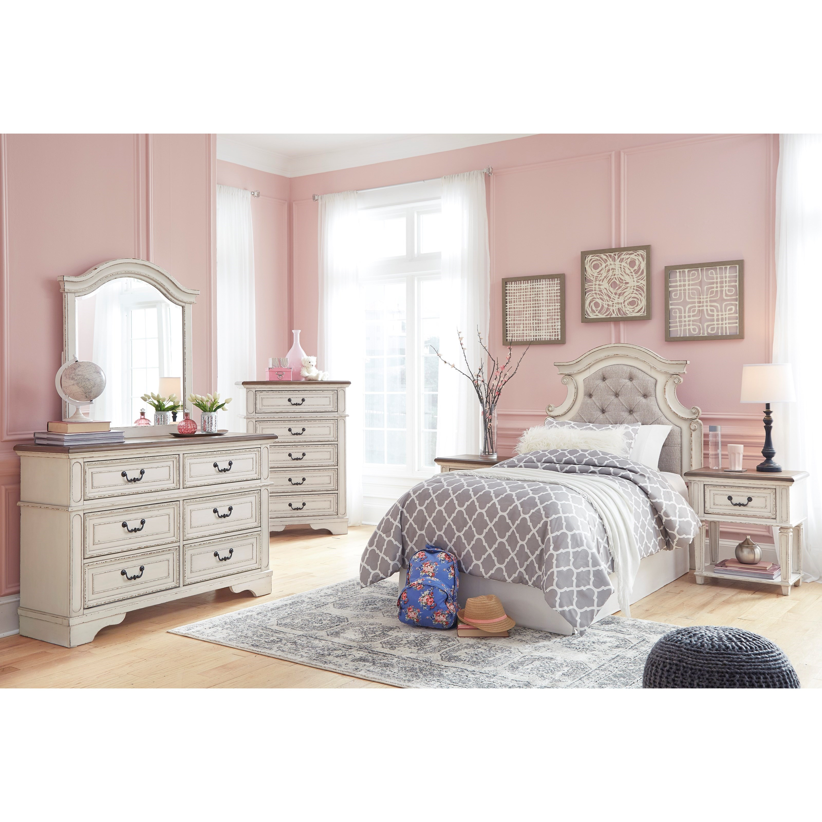 signature design by ashley realyn twin bedroom group household furniture bedroom groups. Black Bedroom Furniture Sets. Home Design Ideas