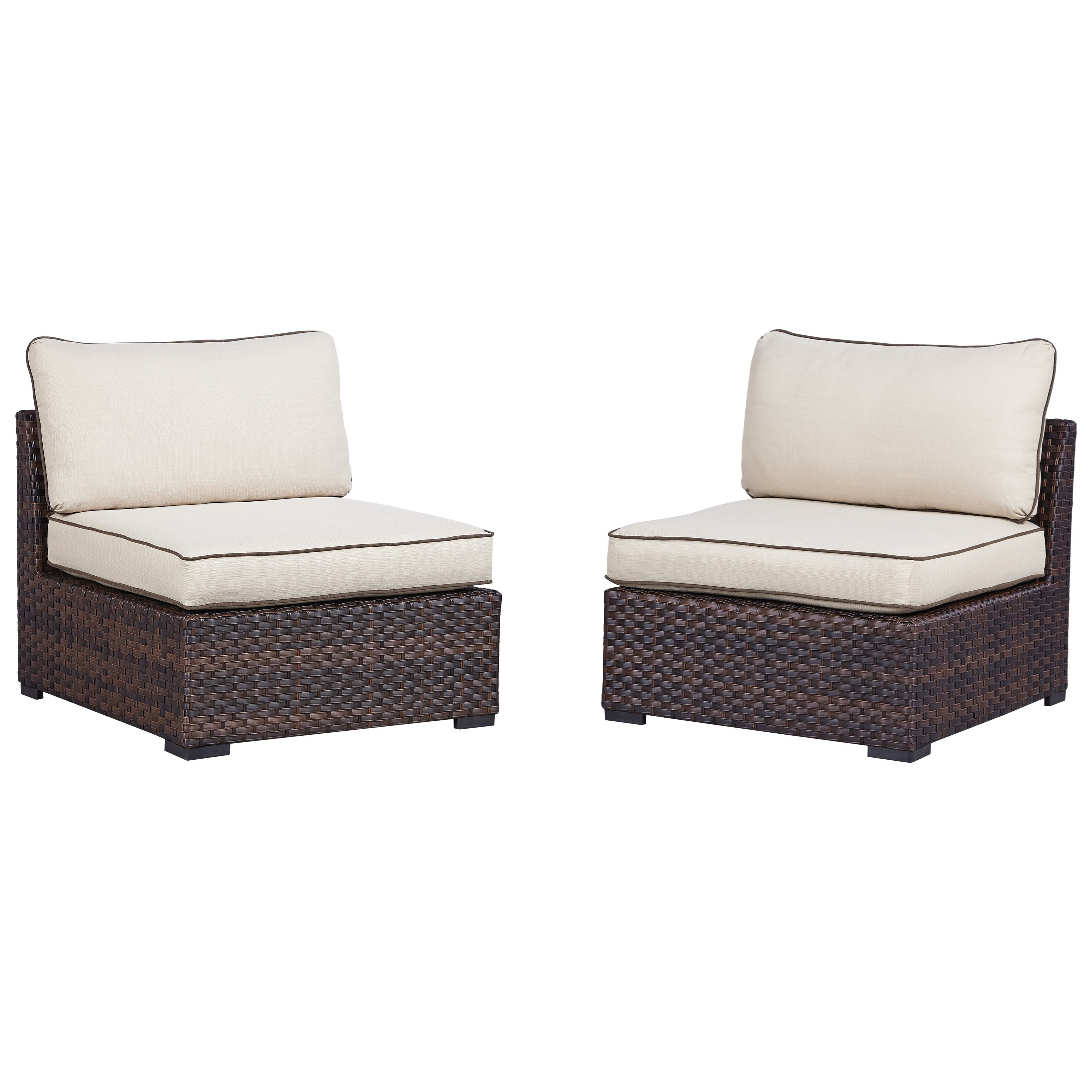 Ashley Signature Design Renway Set of 2 Armless Chairs w Cushion Dunk &amp