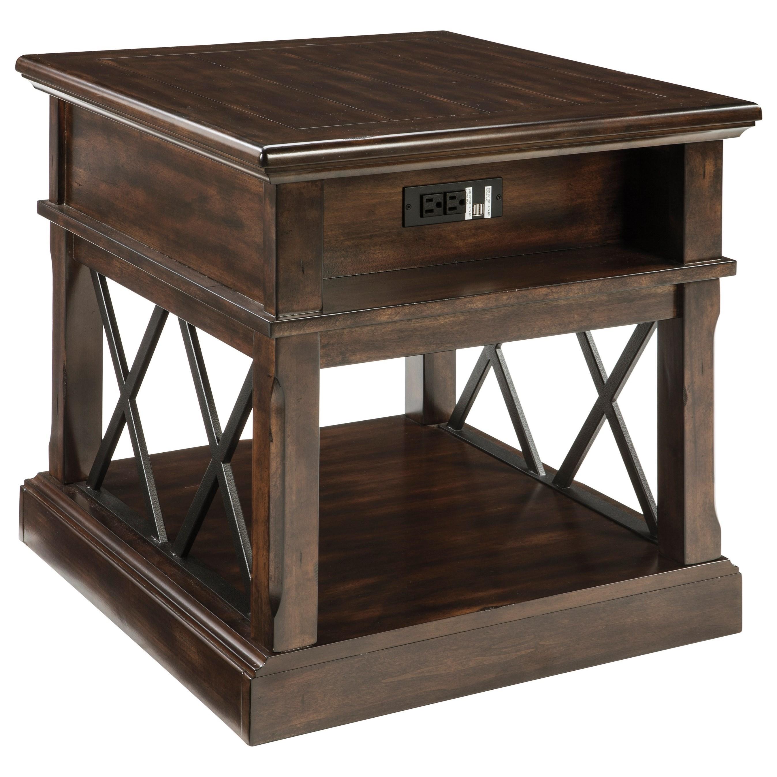 signature design by ashley roddinton rectangular end table with usb ports royal furniture. Black Bedroom Furniture Sets. Home Design Ideas