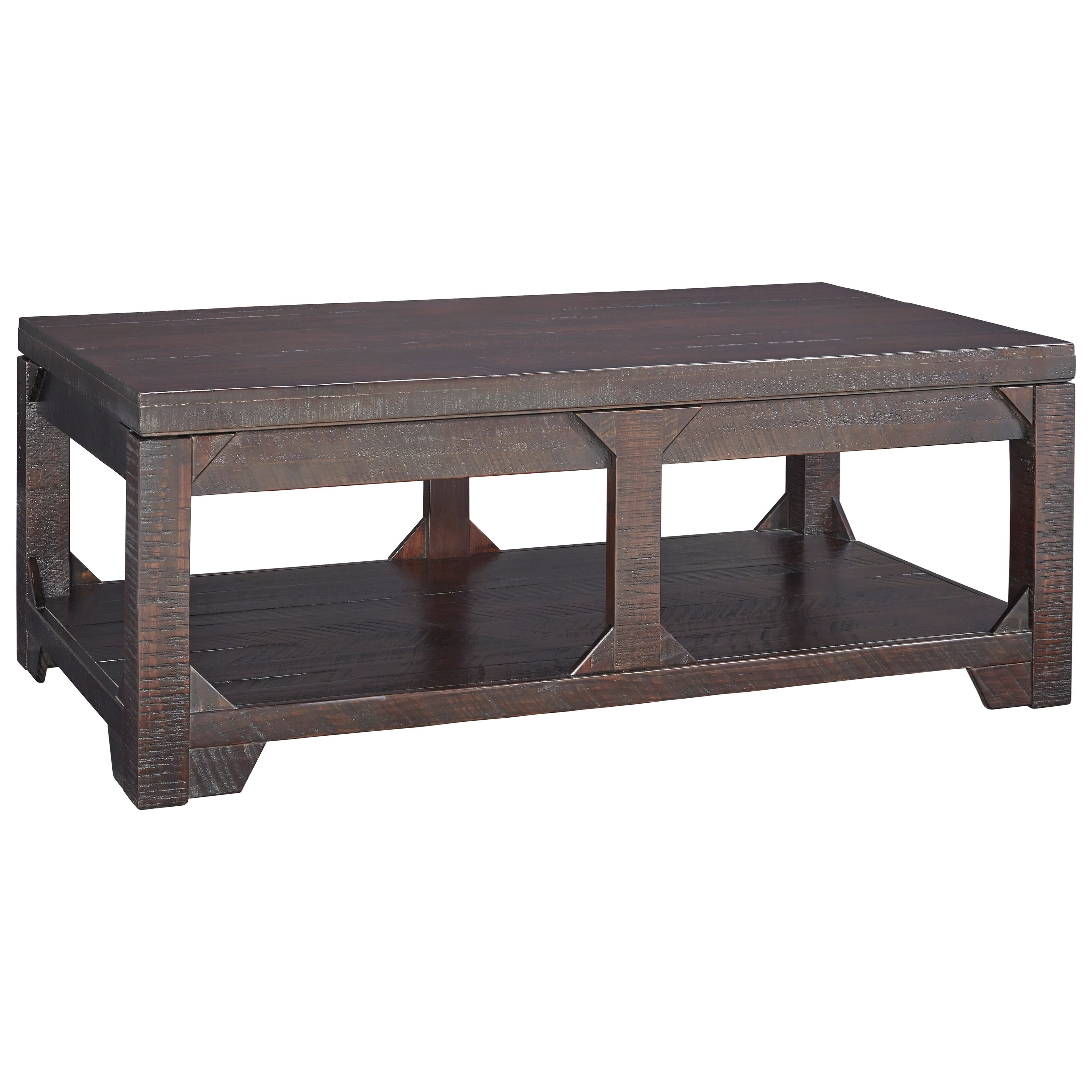 Ashley Signature Design Rogness T745 9 Rustic Lift Top Cocktail Table With Shelf Dunk Bright