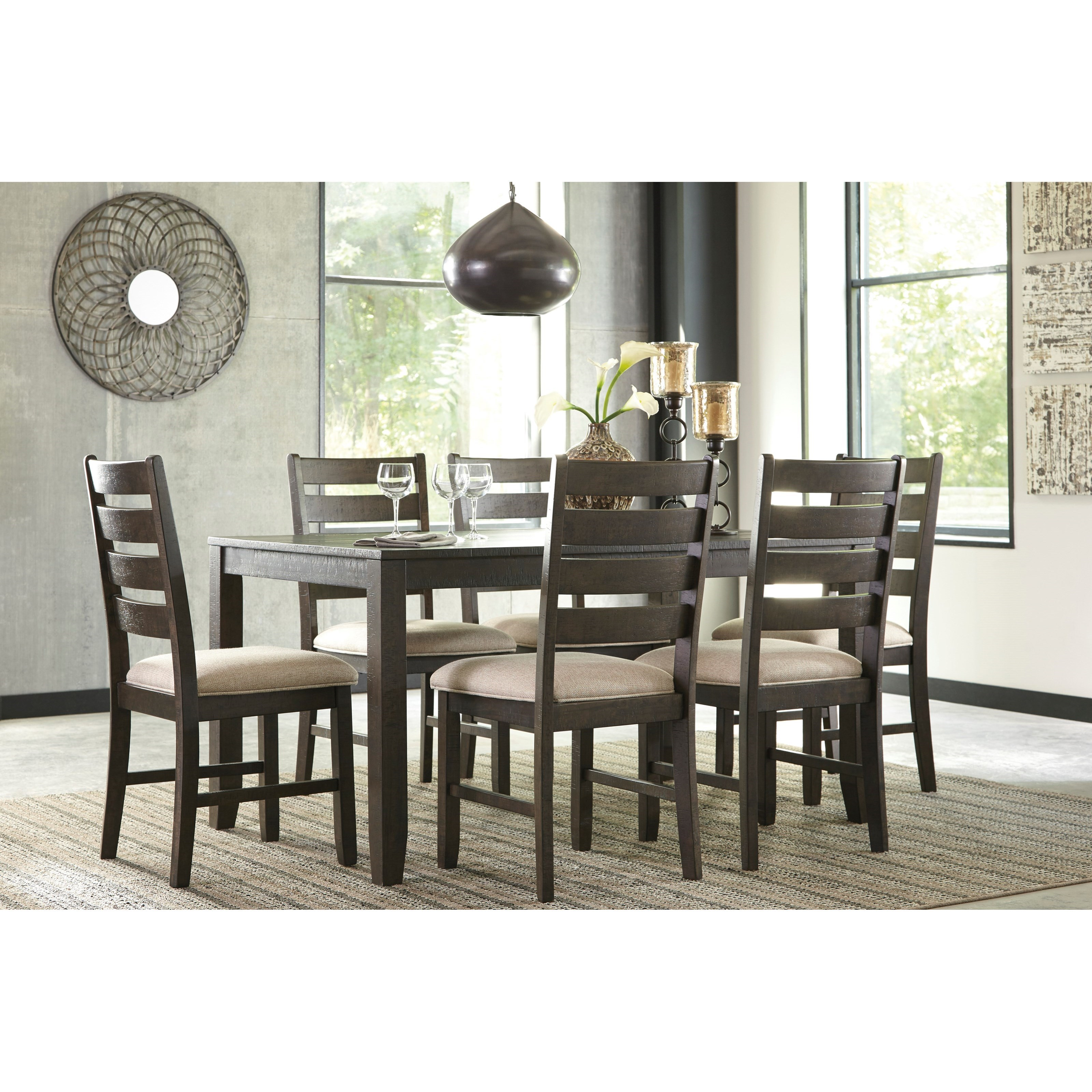 signature design by ashley rokane d397 425 contemporary 7 piece dining room table set del sol. Black Bedroom Furniture Sets. Home Design Ideas