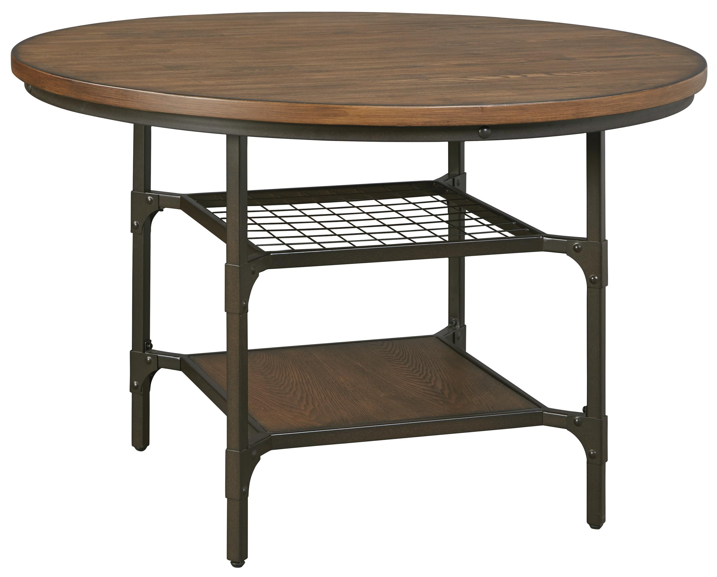 metal wood round dining room table with 2 shelves del sol furniture