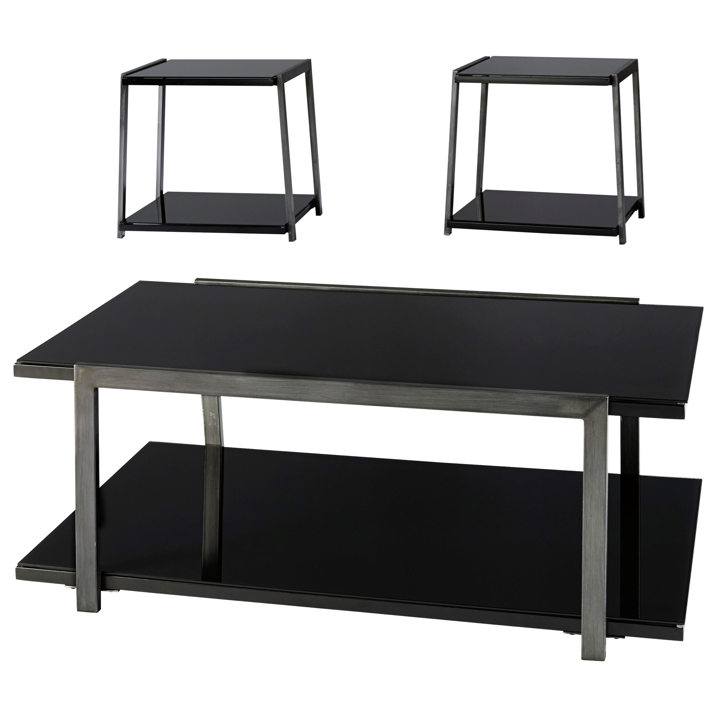 Signature design by ashley rollynx t326 13 black glass for Occasional tables