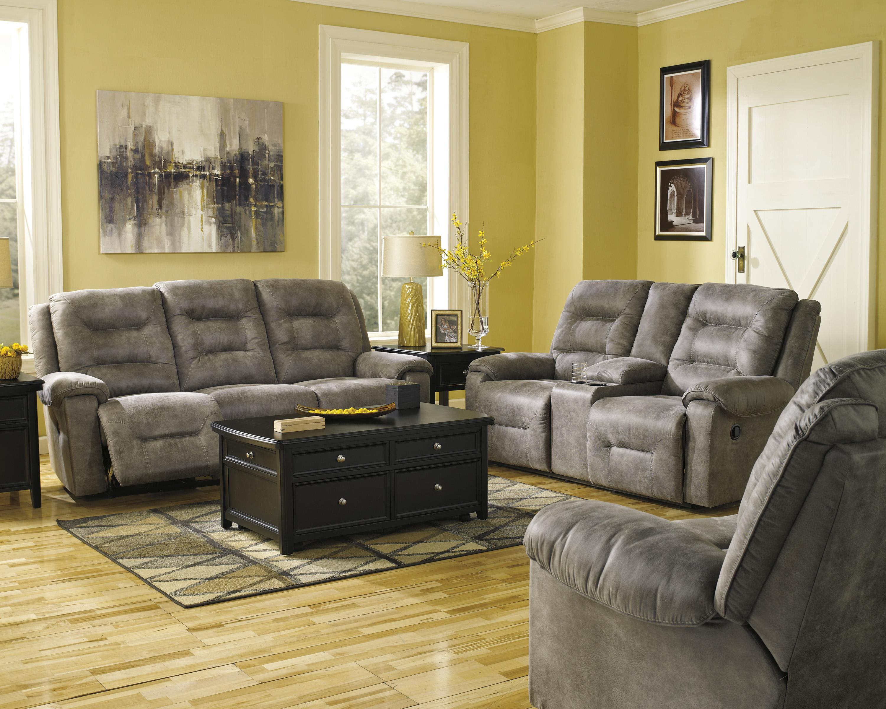 Ashley signature design rotation smoke manual reclining for Living room furniture groups