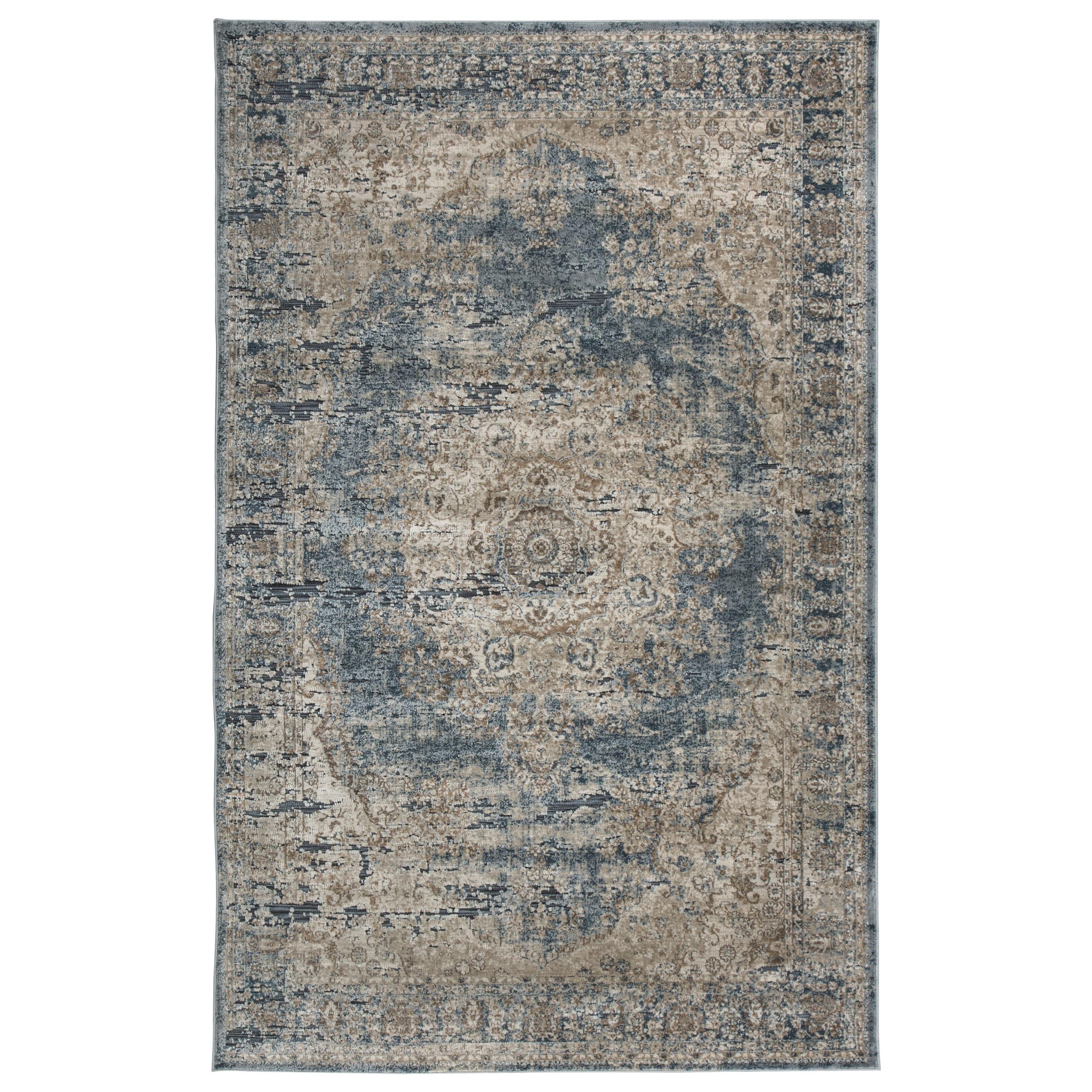 Signature Design By Ashley Traditional Classics Area Rugs South Blue Tan Large Rug Miskelly