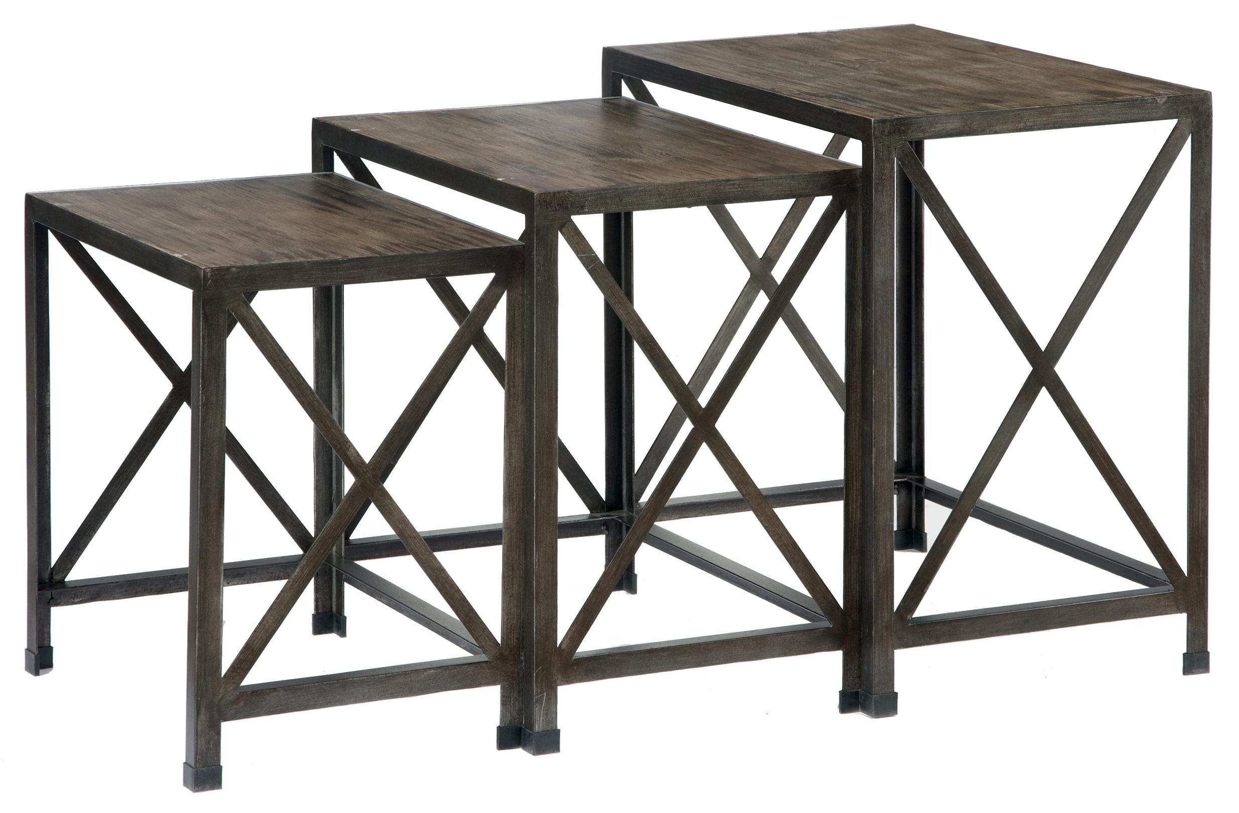 Ashley signature design vennilux t500 716 set of 3 rustic for Bright colored side tables