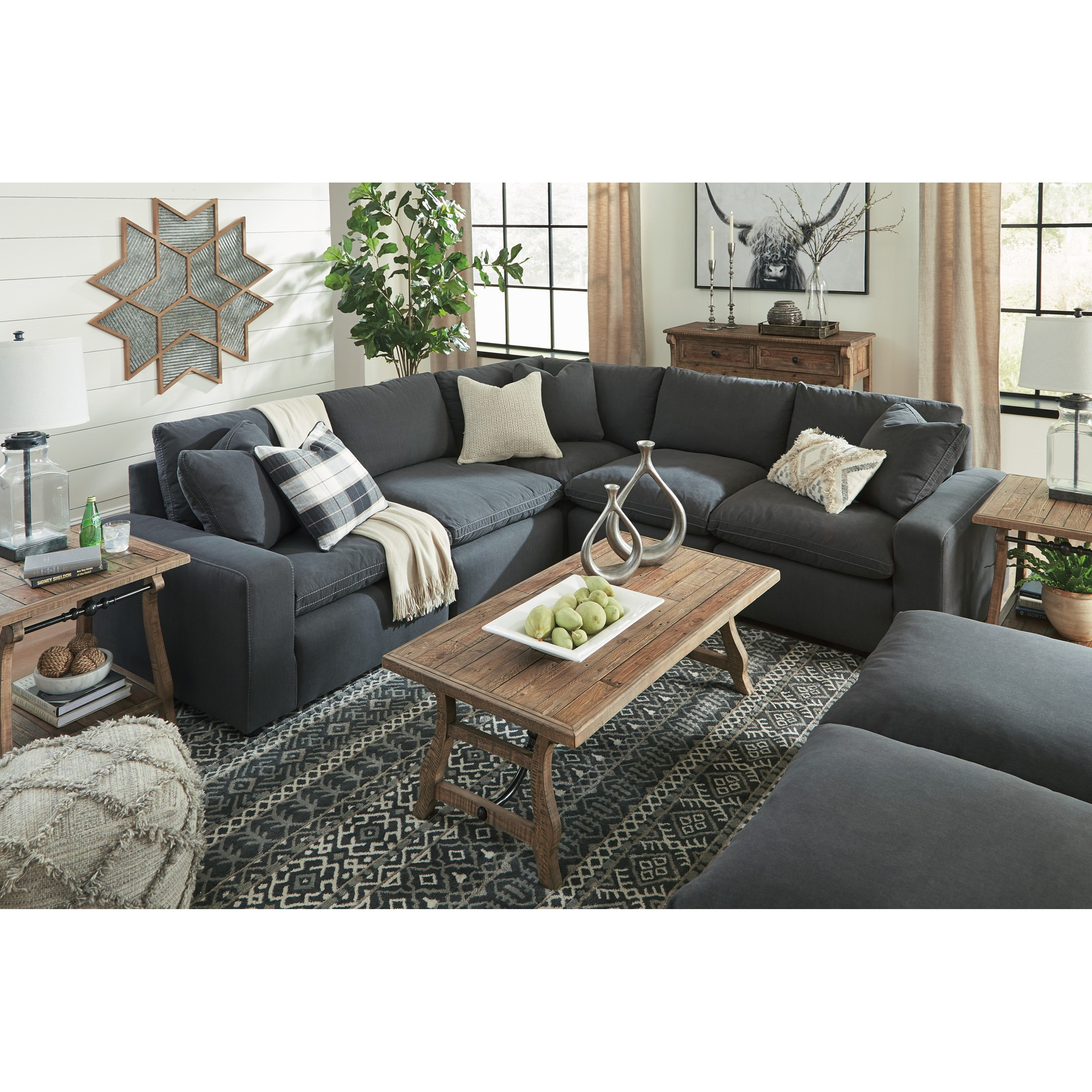 savesto casual contemporary 7 piece sectional set rotmans sectional sofas. Black Bedroom Furniture Sets. Home Design Ideas