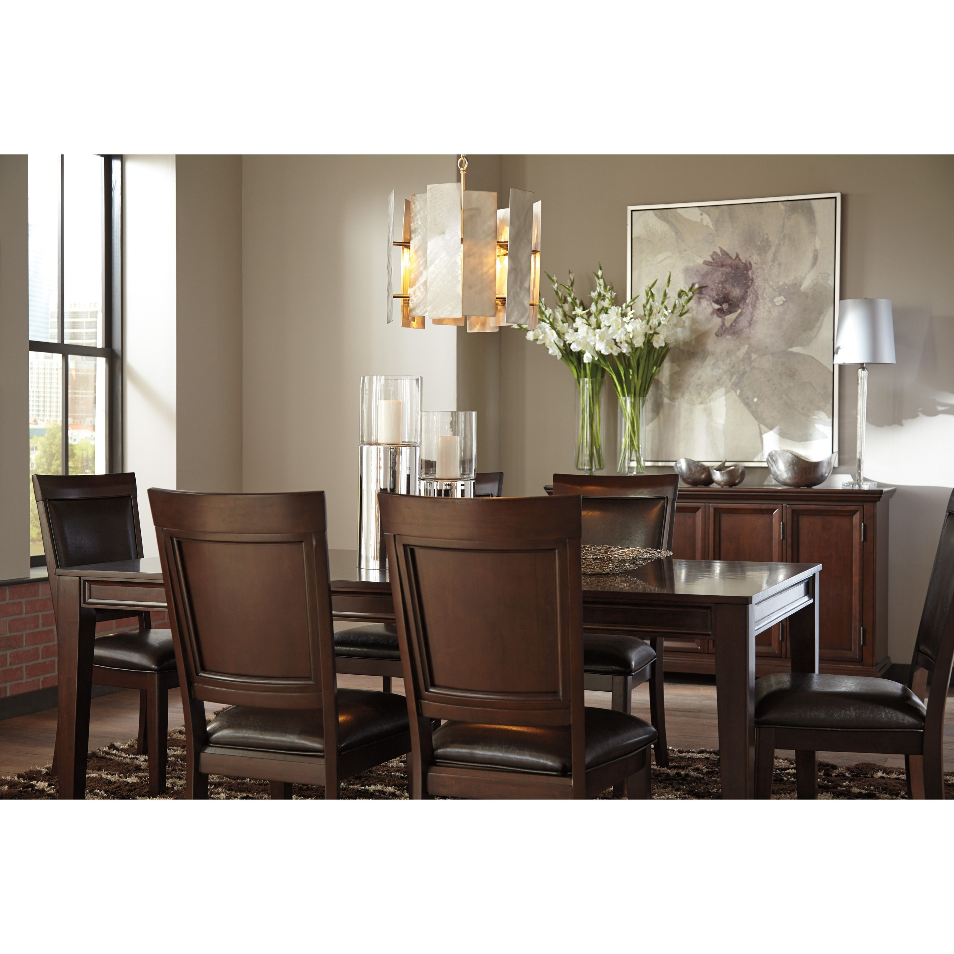 Ashley signature design shadyn d471 01 dining upholstered for Leather dining room sets