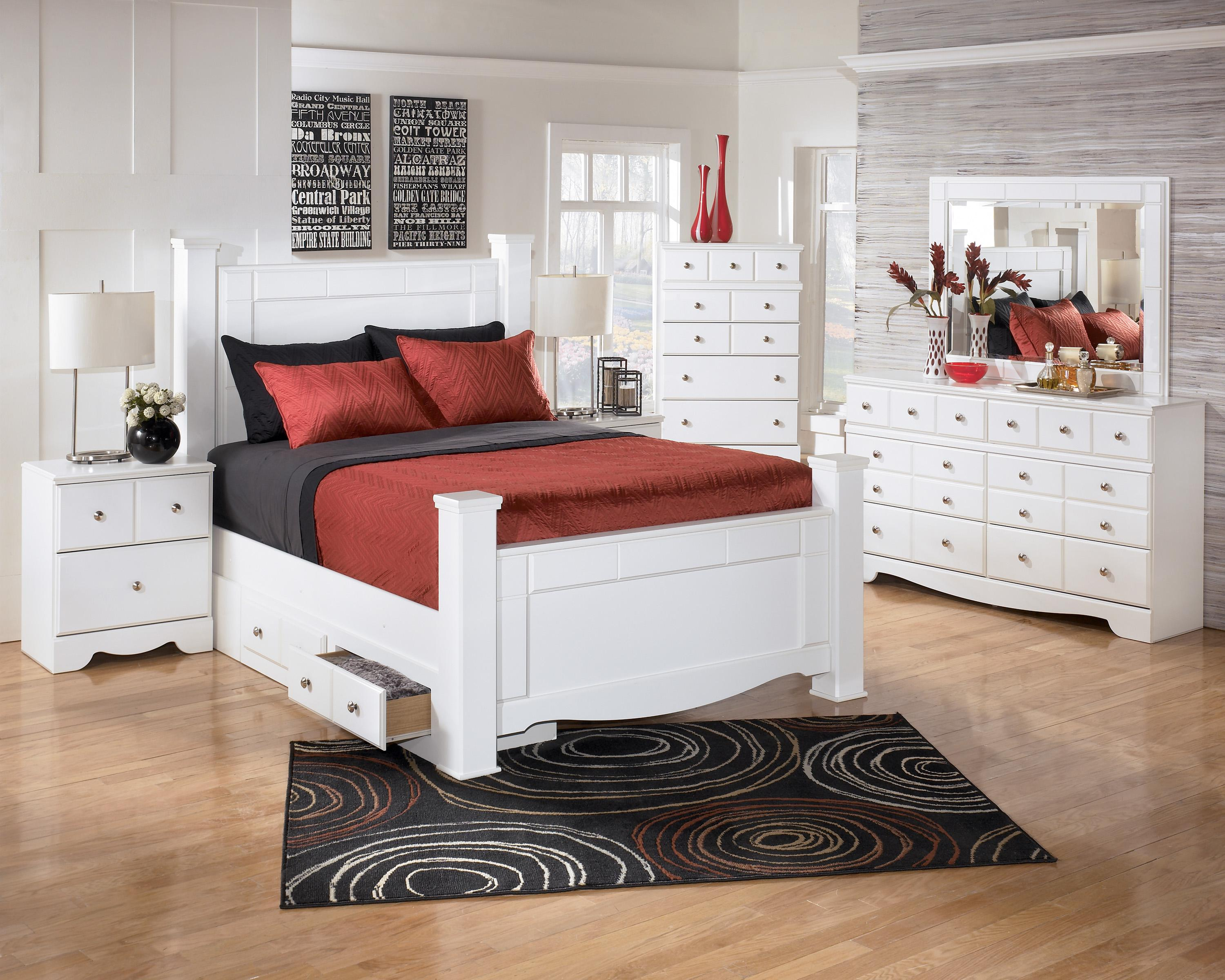 Signature design by ashley weeki queen poster bed with underbed storage becker furniture world Queen bedroom sets with underbed storage