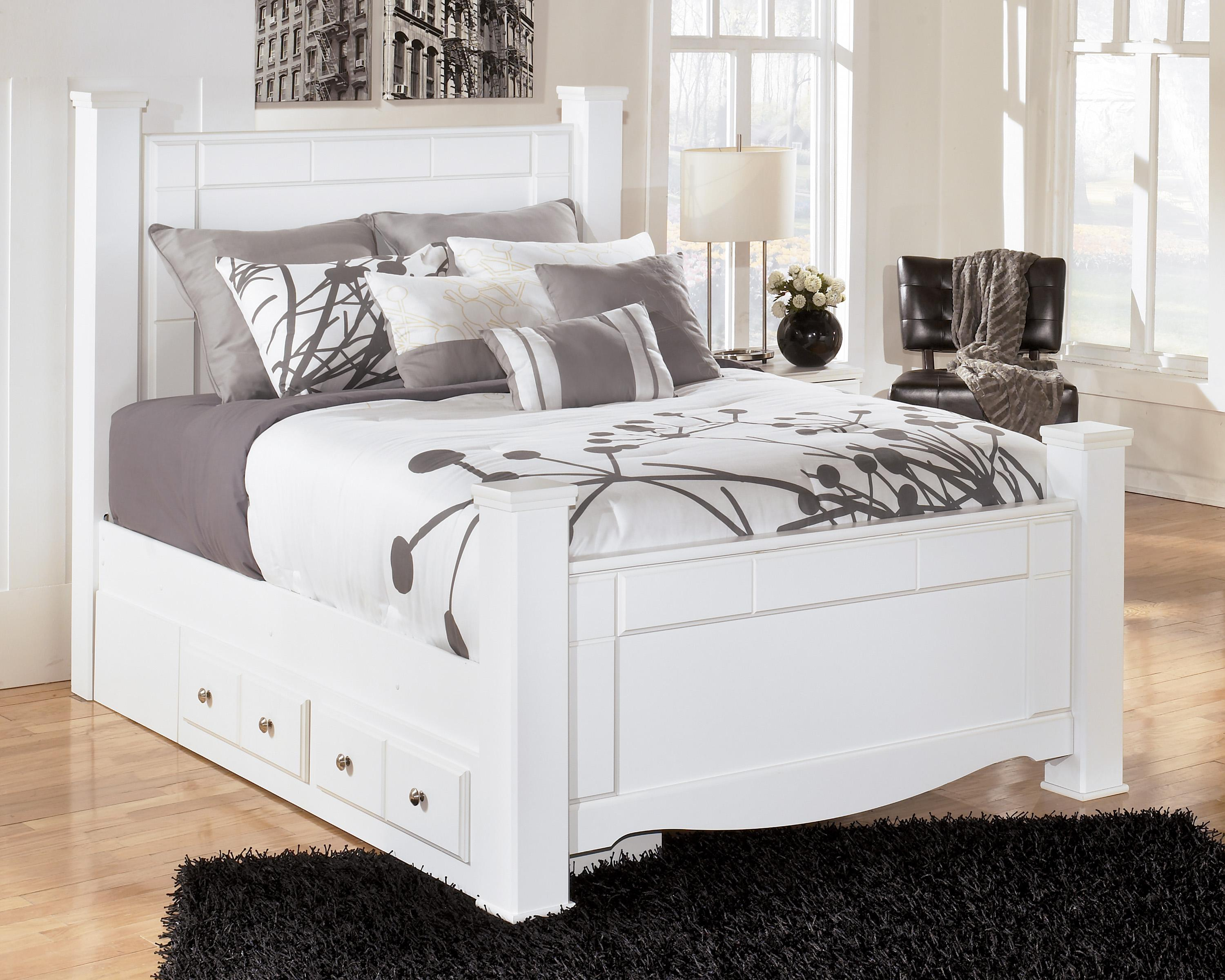 Signature design by ashley weeki queen poster bed with underbed storage household furniture Queen bedroom sets with underbed storage