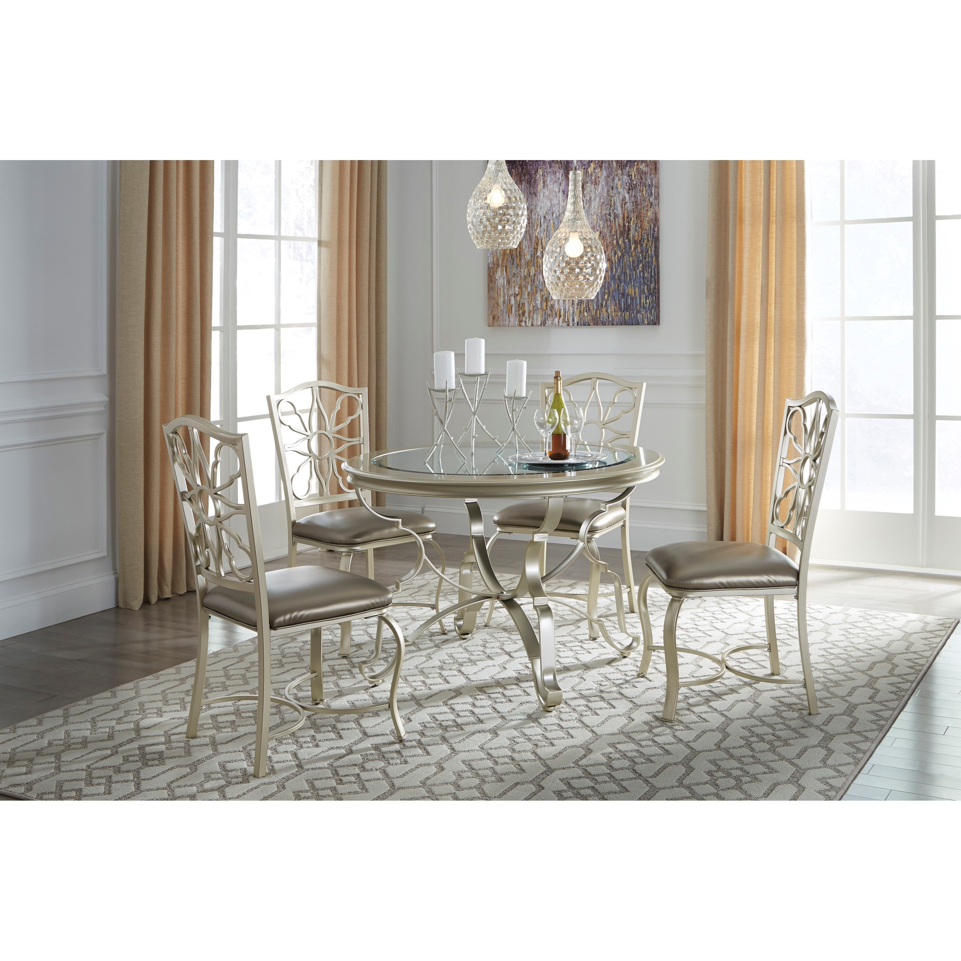Signature design by ashley shollyn silver finish round for Best dining room table finish