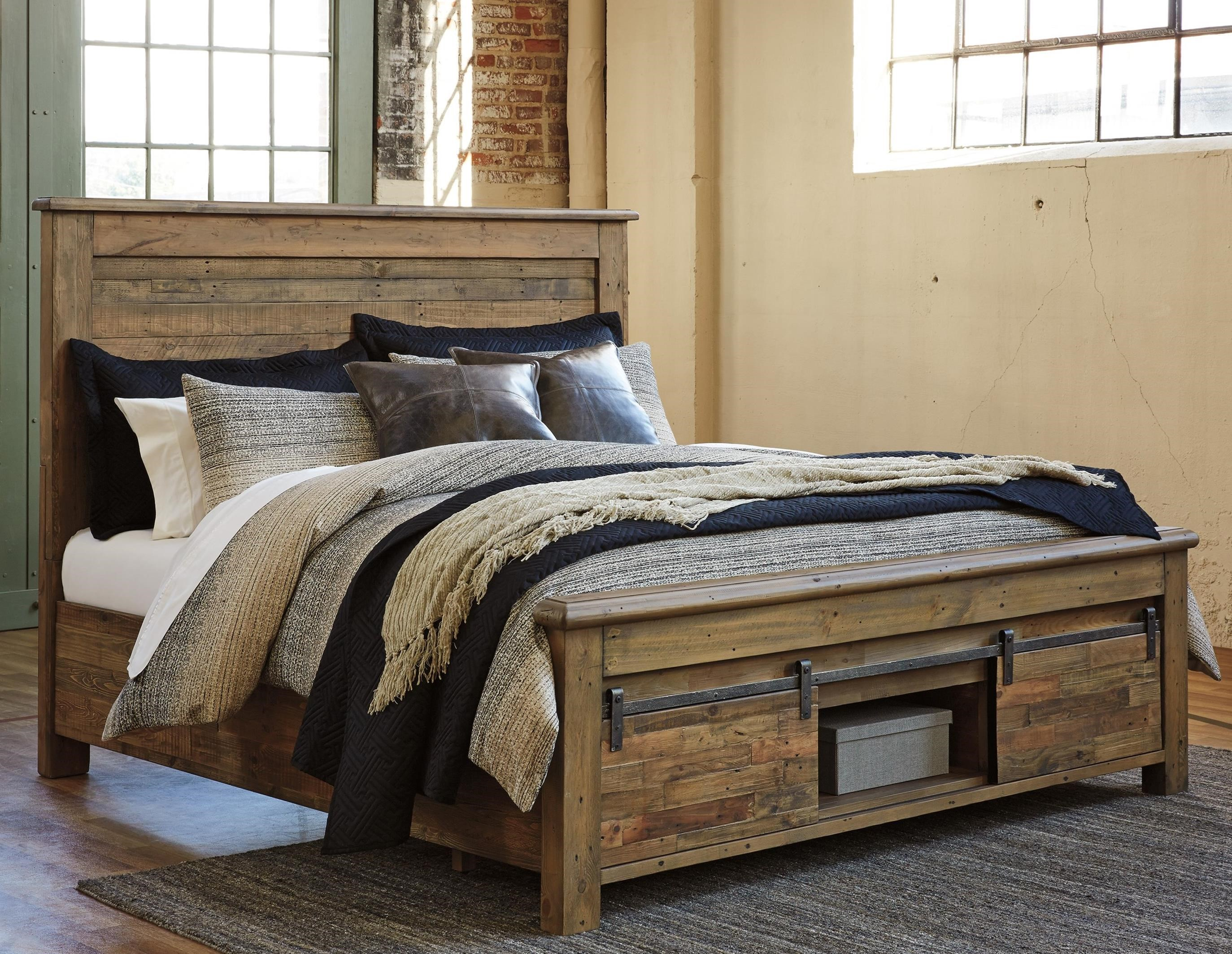Ashley Signature Design Sommerford King Panel Storage Bed With Barn Doors Dunk Bright