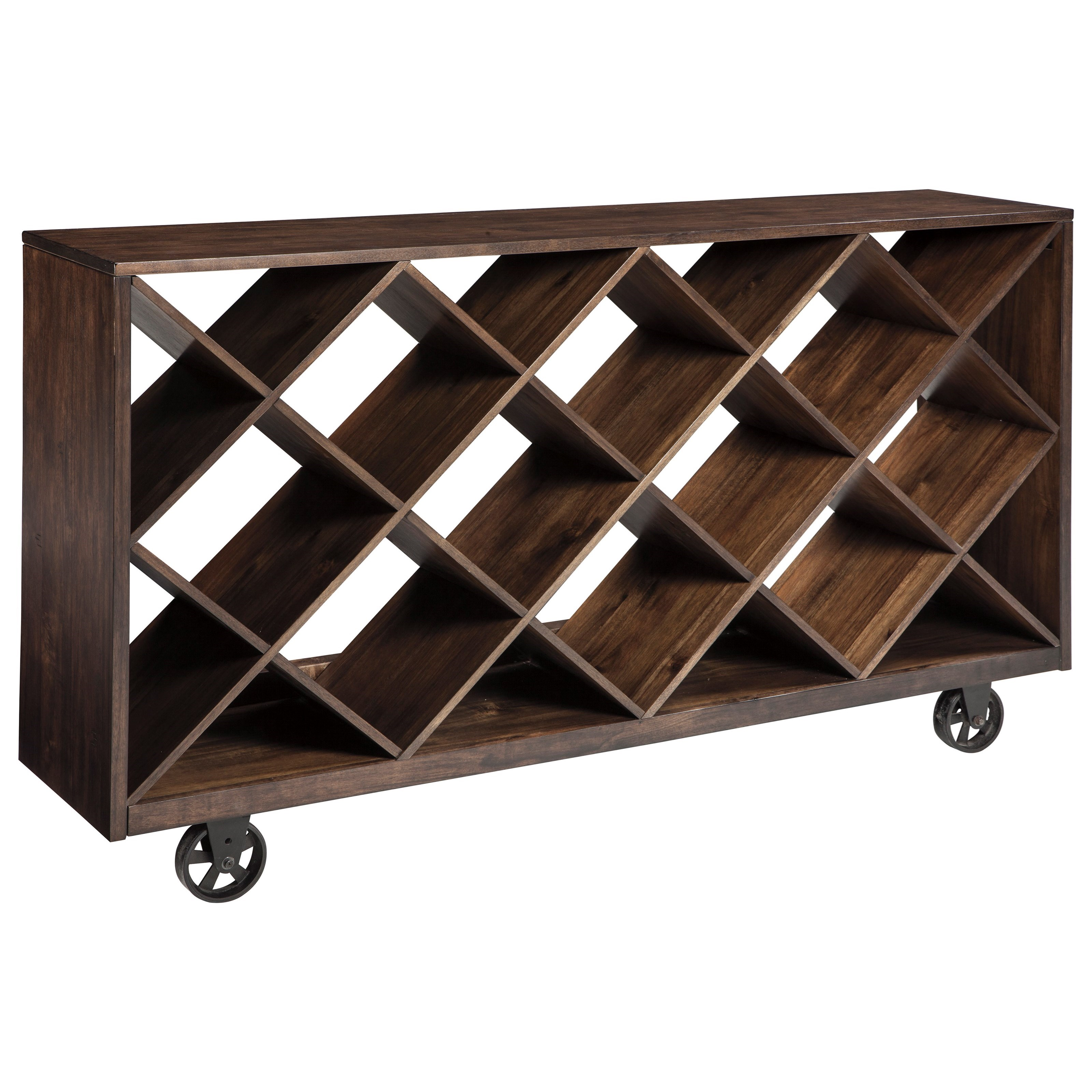 Signature design by ashley starmore t913 5 shelf console for Sofa table on wheels