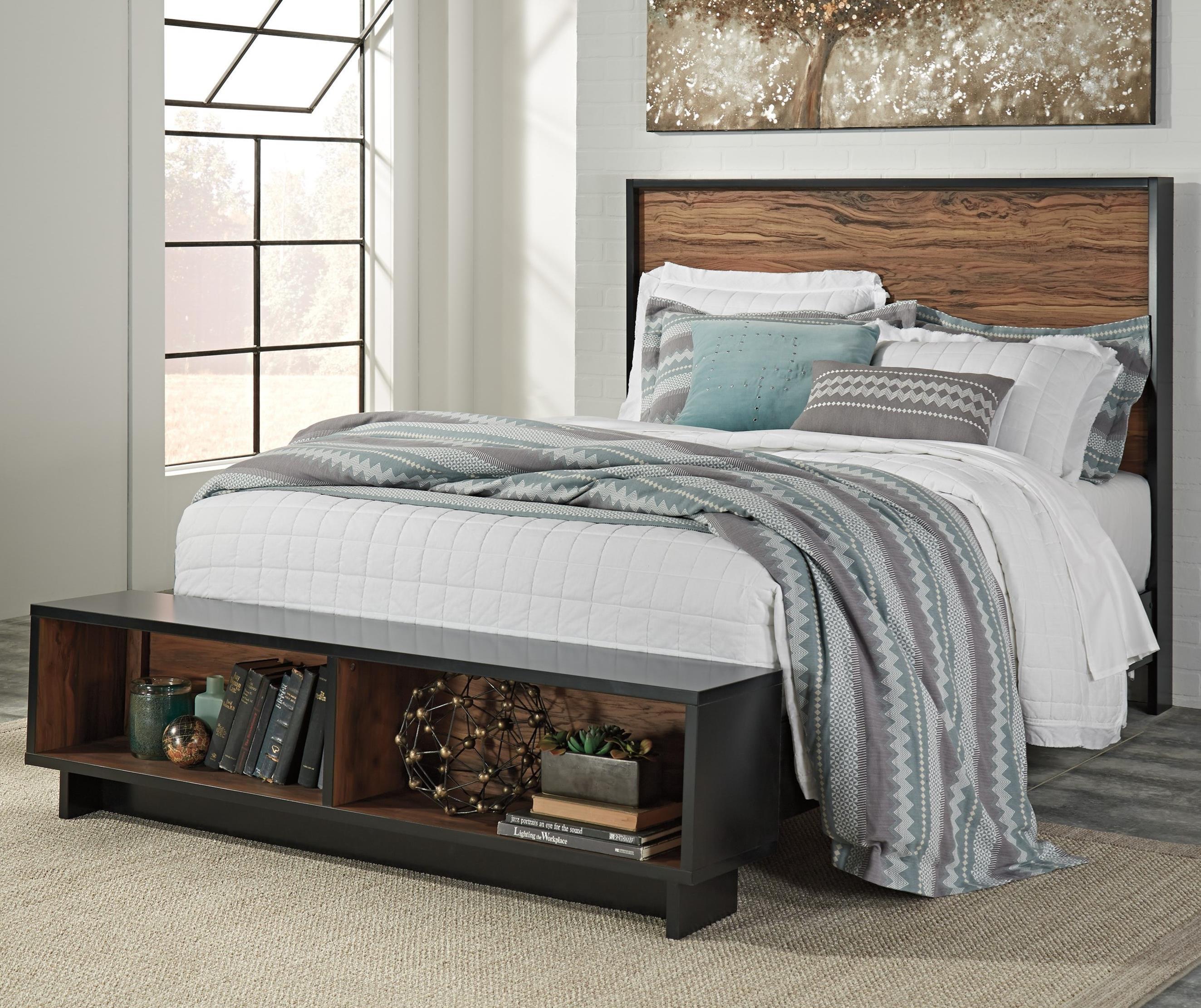 Ashley Signature Design Stavani Queen Platform Bed W Storage Bench Footboard Dunk Bright