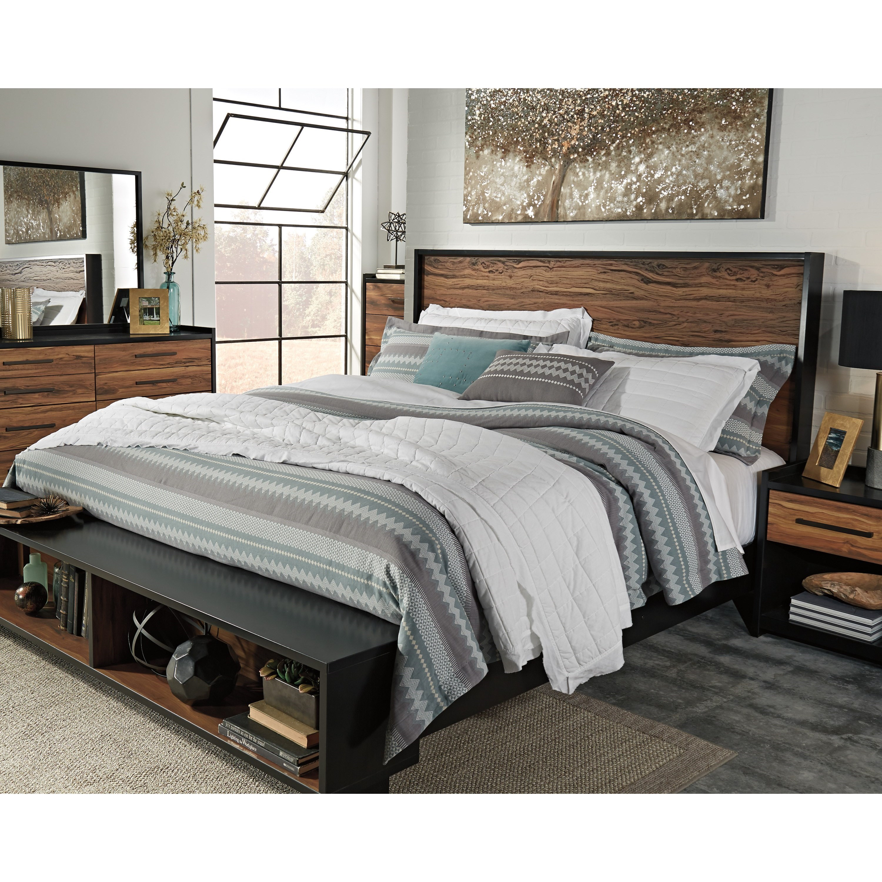 Ashley Signature Design Stavani King Platform Bed W Storage Bench Footboard Dunk Bright