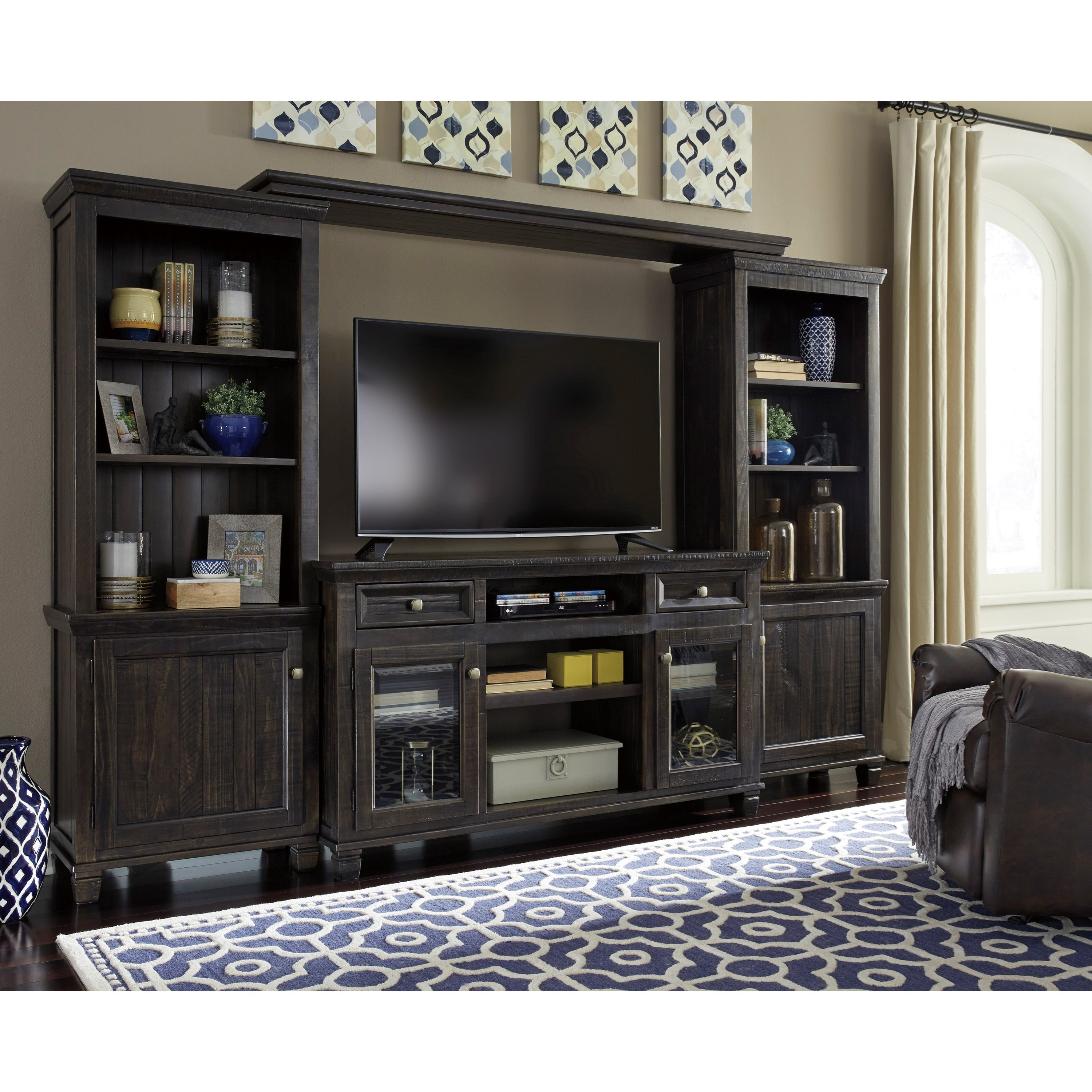 Benchcraft Townser Solid Wood Pine Entertainment Center