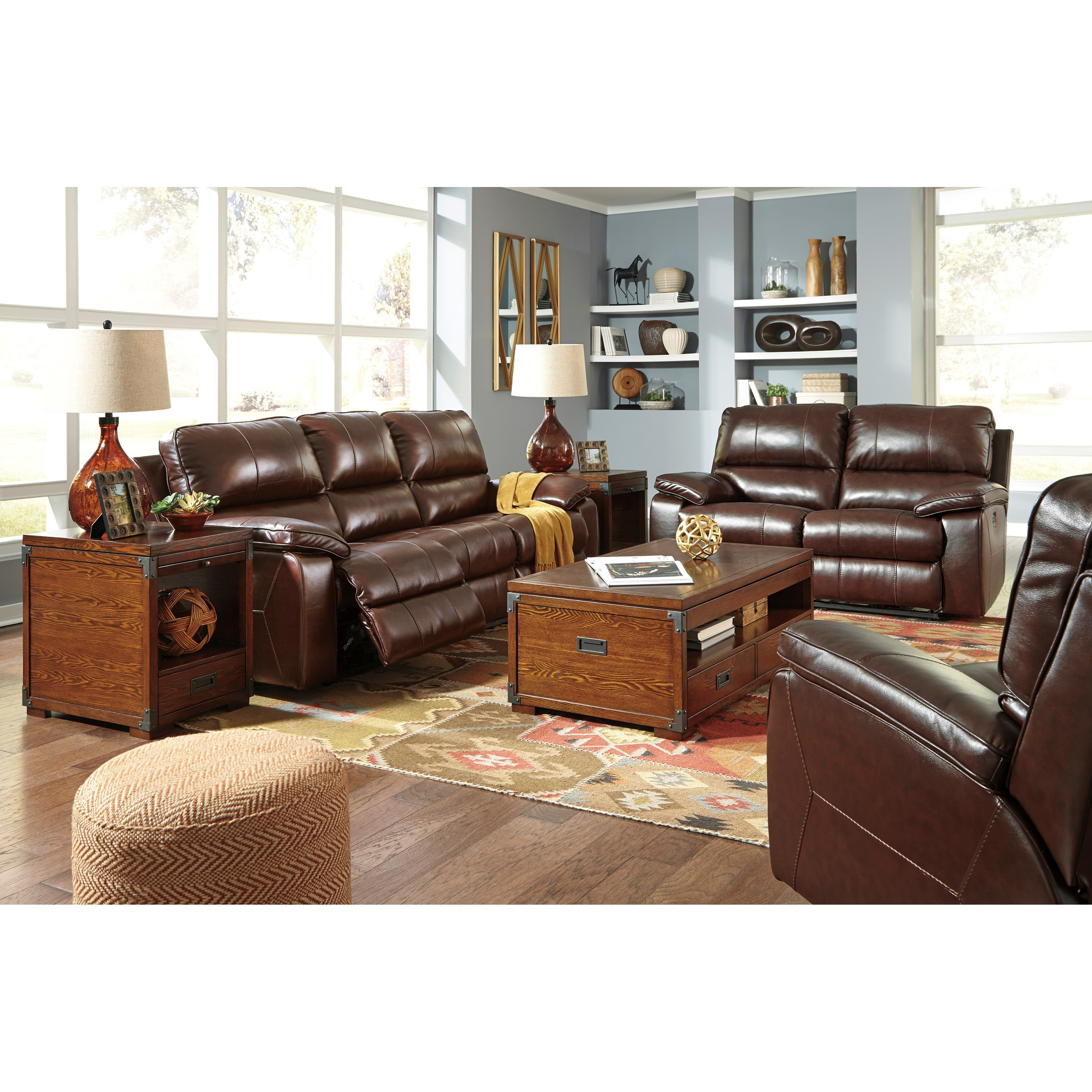 Signature Design By Ashley Transister 5130215 Leather Match Power Reclining Sofa W Adjustable