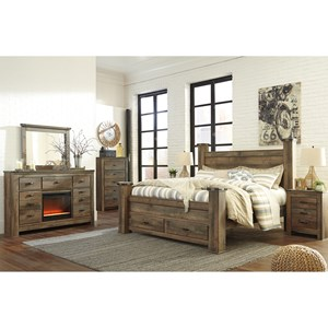 Signature Design By Ashley Trinell Rustic Look King Panel