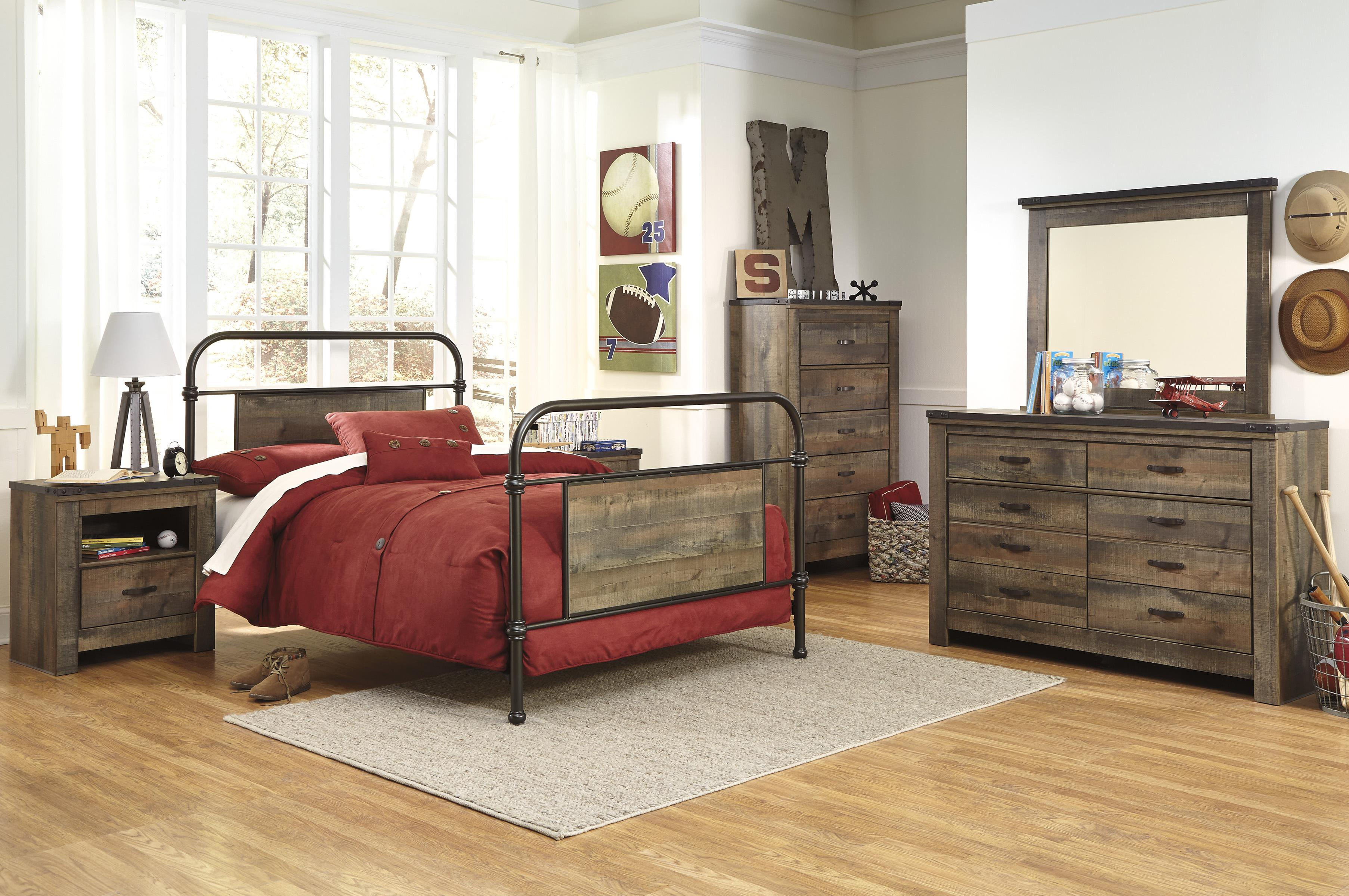 signature design by ashley trinell full bedroom group wayside furniture bedroom groups. Black Bedroom Furniture Sets. Home Design Ideas