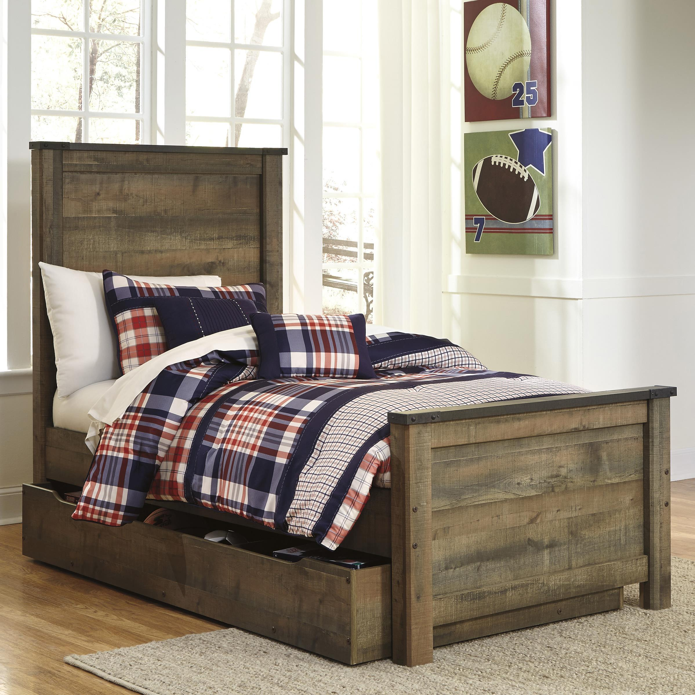 Ashley signature design trinell rustic look twin panel bed for Signature bedroom furniture