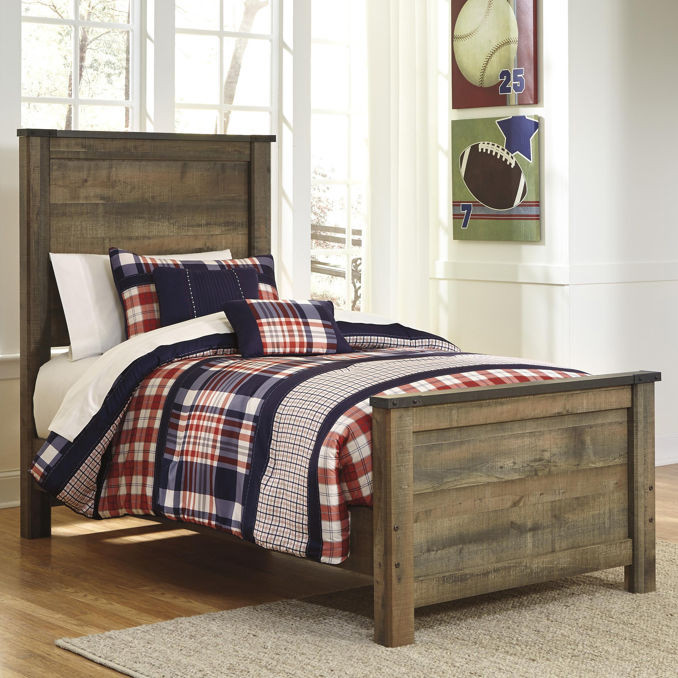 Ashley Signature Design Trinell Rustic Look Twin Panel Bed Dunk Bright Furniture Panel Beds