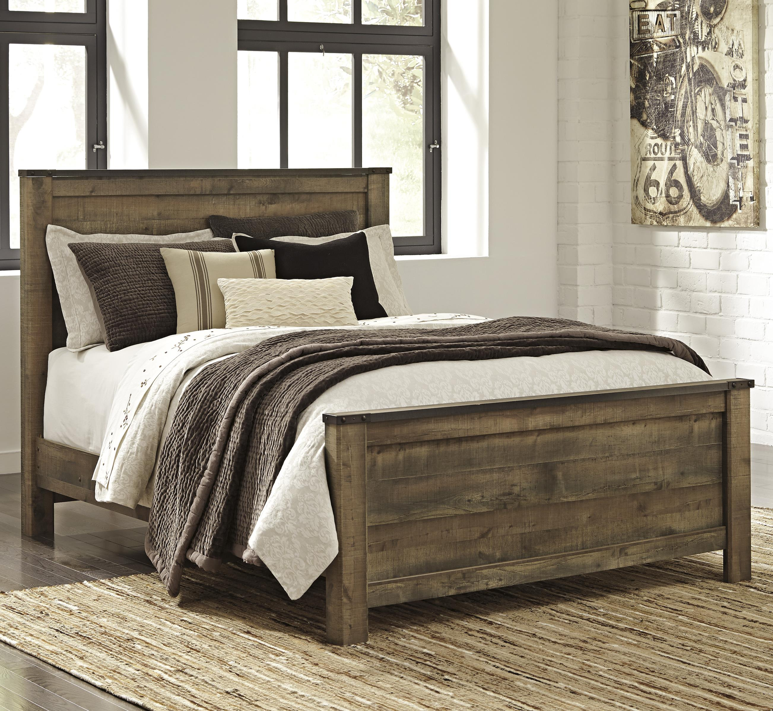 Signature design by ashley trinell rustic look queen panel for Bedroom ideas queen bed