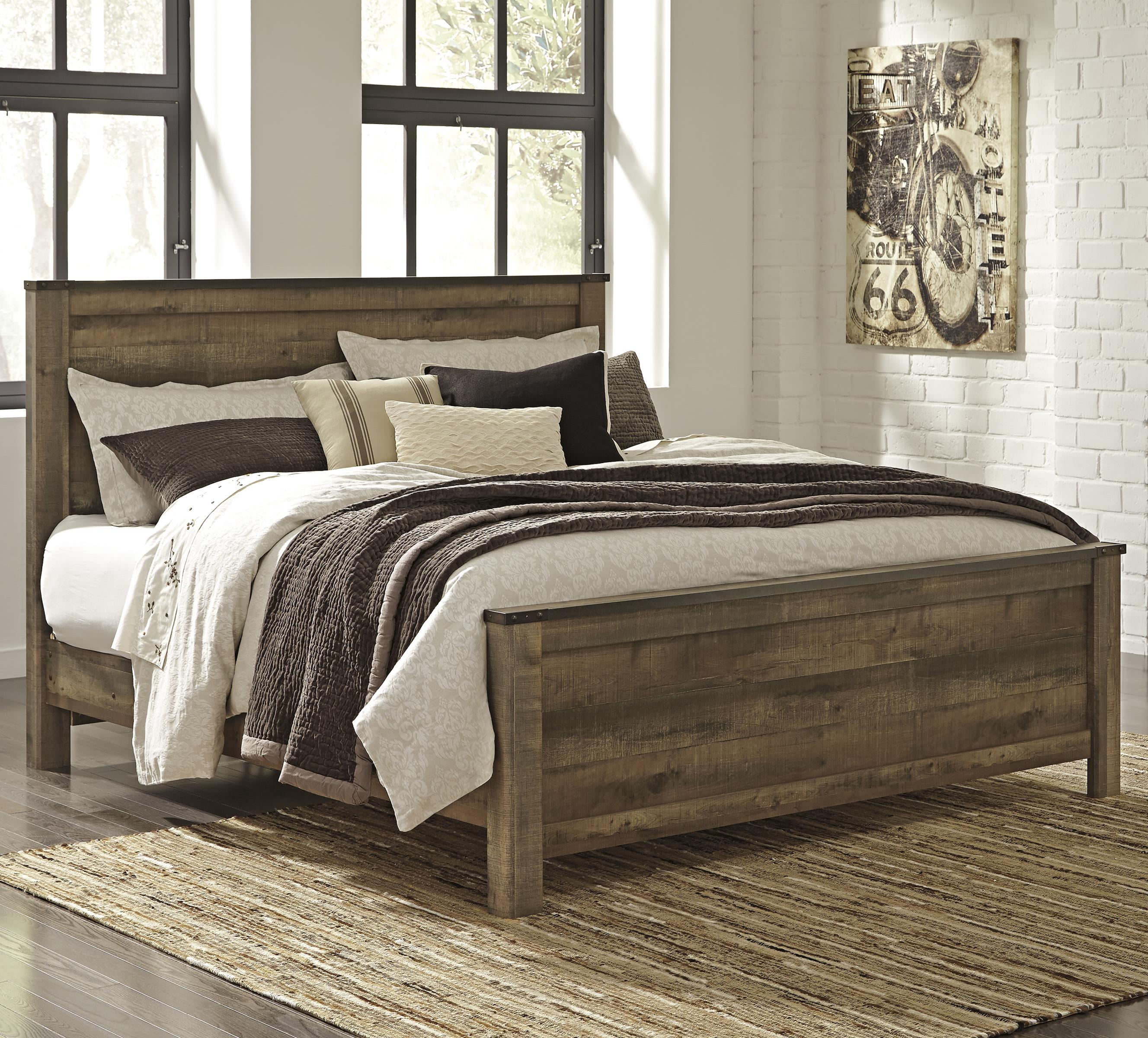 Signature Design By Ashley Trinell Rustic Look King Panel Bed Becker Furniture World Panel Beds