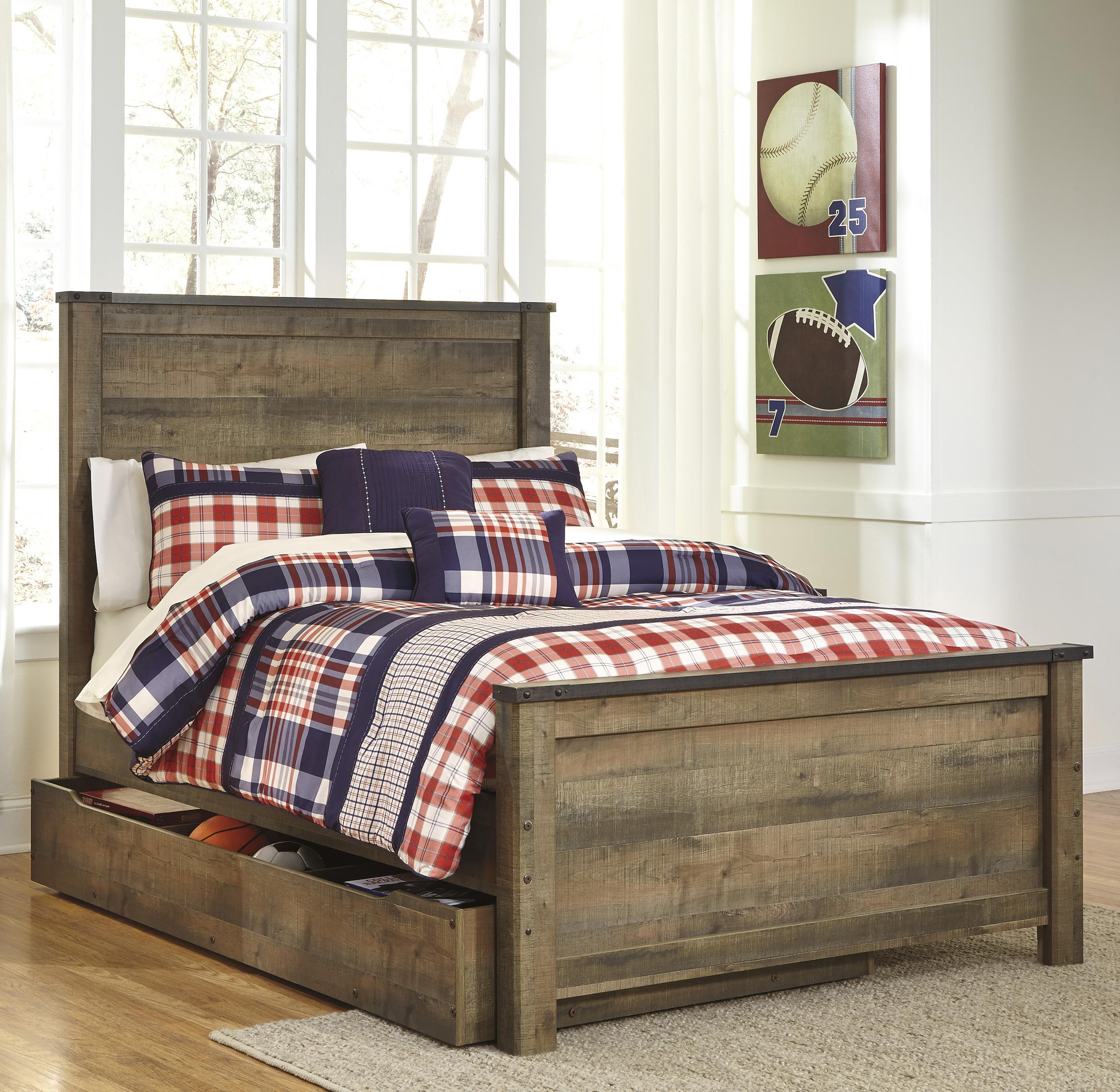 Signature Design By Ashley Trinell Rustic Look Full Panel Bed With Under Bed Storage Trundle