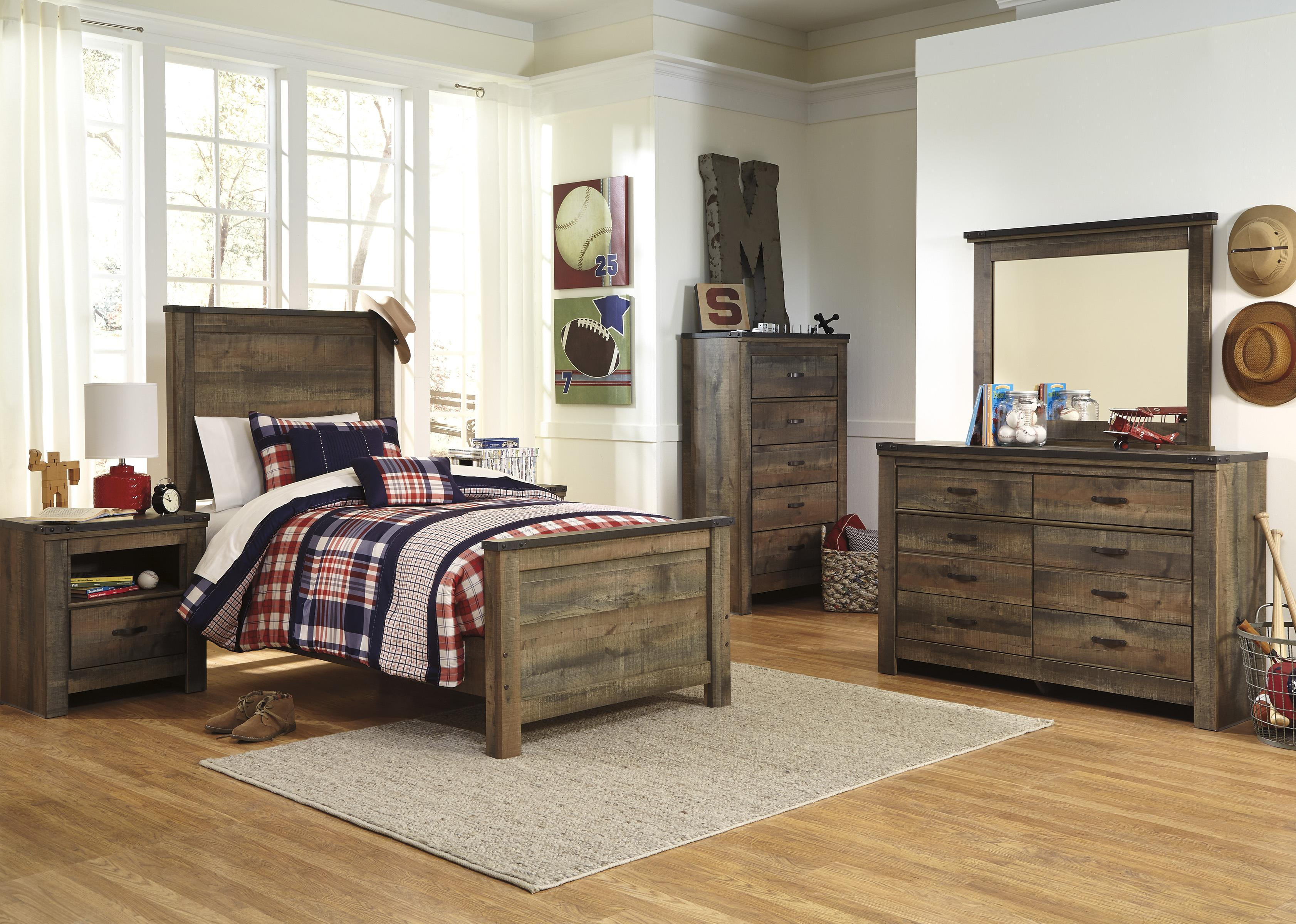 Signature design by ashley trinell rustic look one drawer for Bedroom furniture 37027