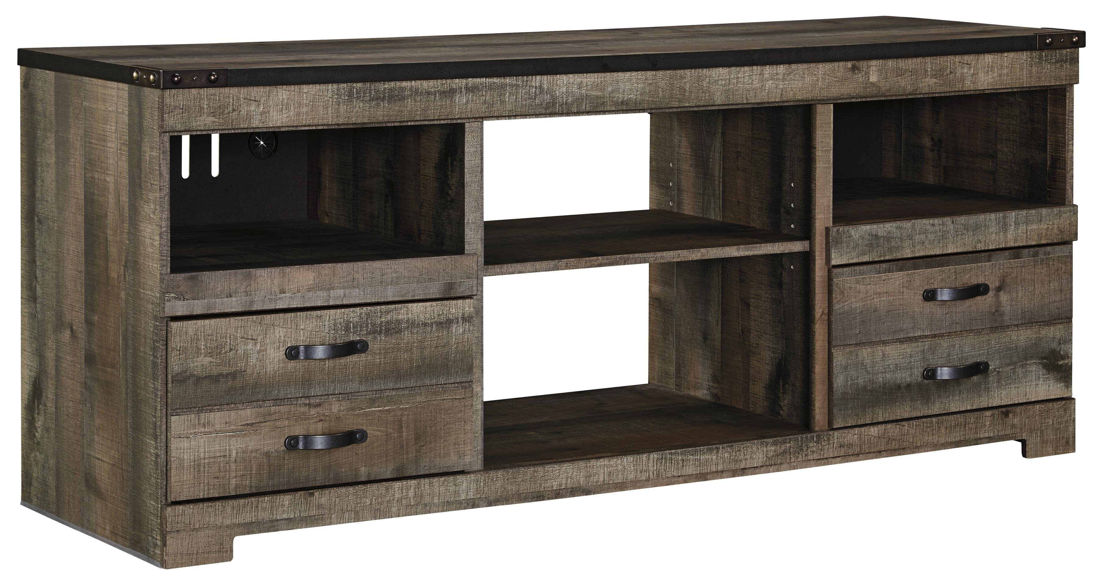 Signature design by ashley trinell rustic large tv stand Rustic tv stands