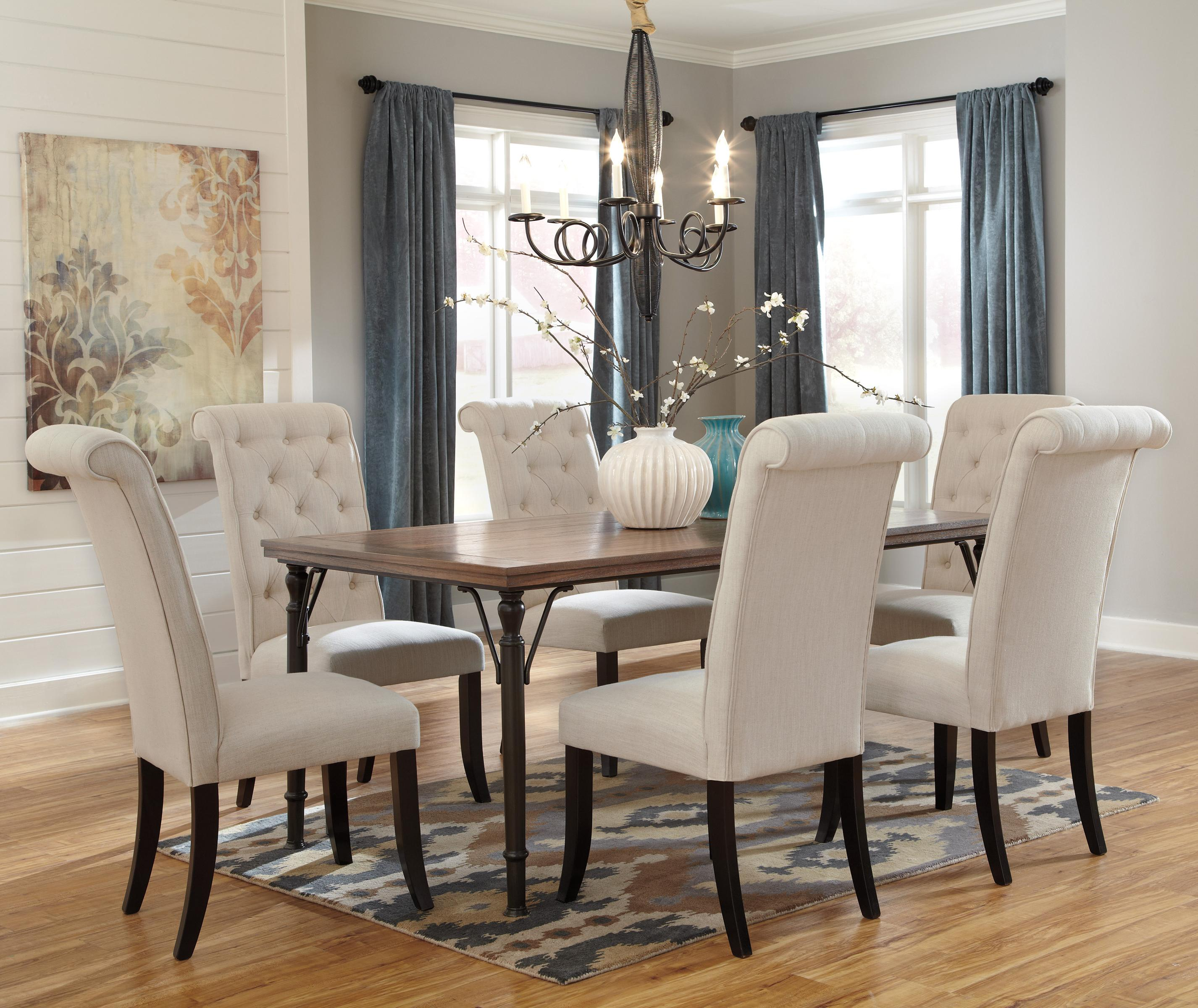 ashley dining room sets tripton 7 rectangular dining room table set w wood 15699